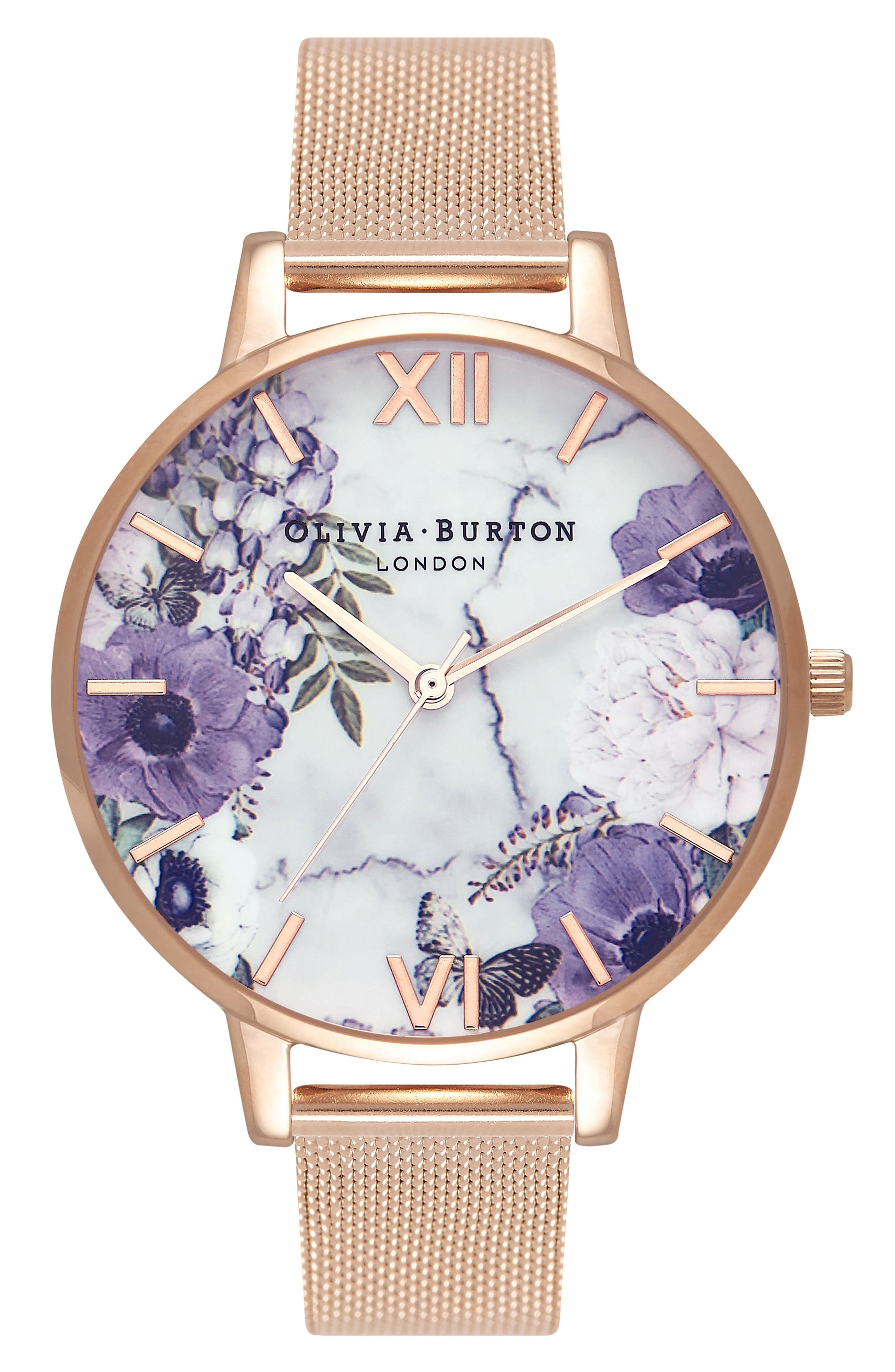Marble Floral Mesh Strap Watch, 38mm,                         Main,                         color, Rose Gold/ Floral/ Rose Gold