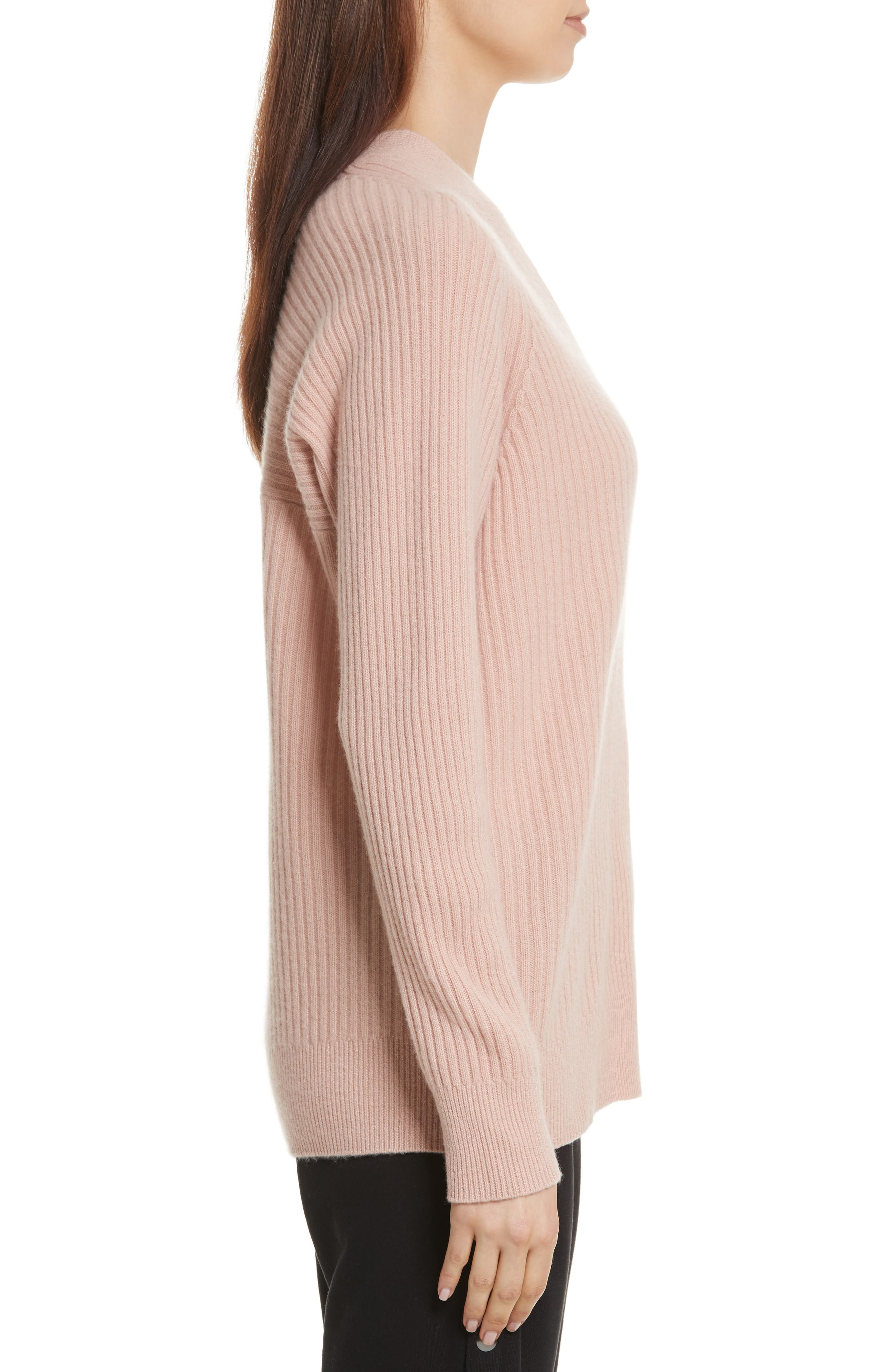 Wool Blend Raglan V-Neck Sweater,                             Alternate thumbnail 3, color,                             Quartz