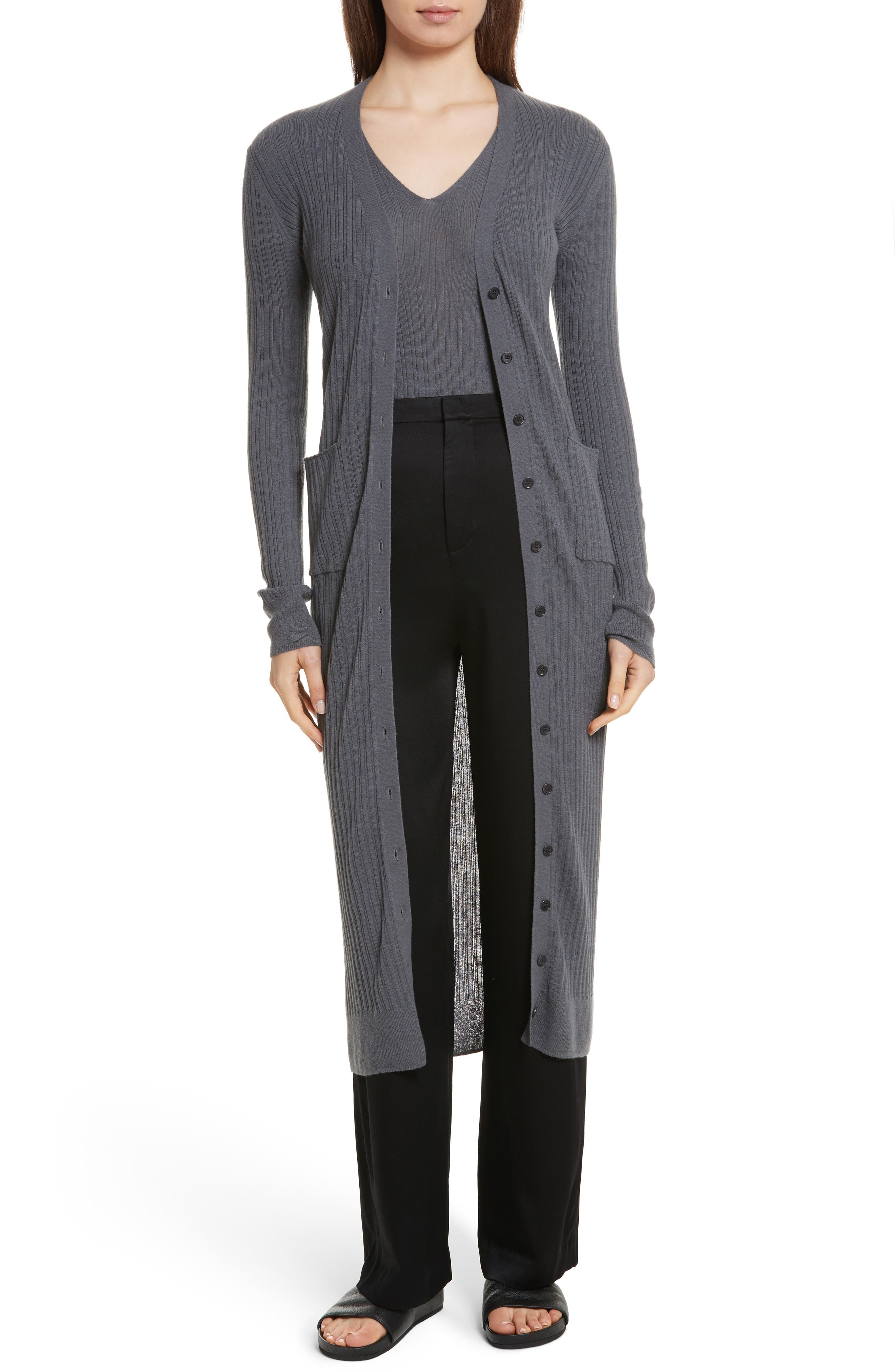 Vince Long Ribbed Cashmere Cardigan