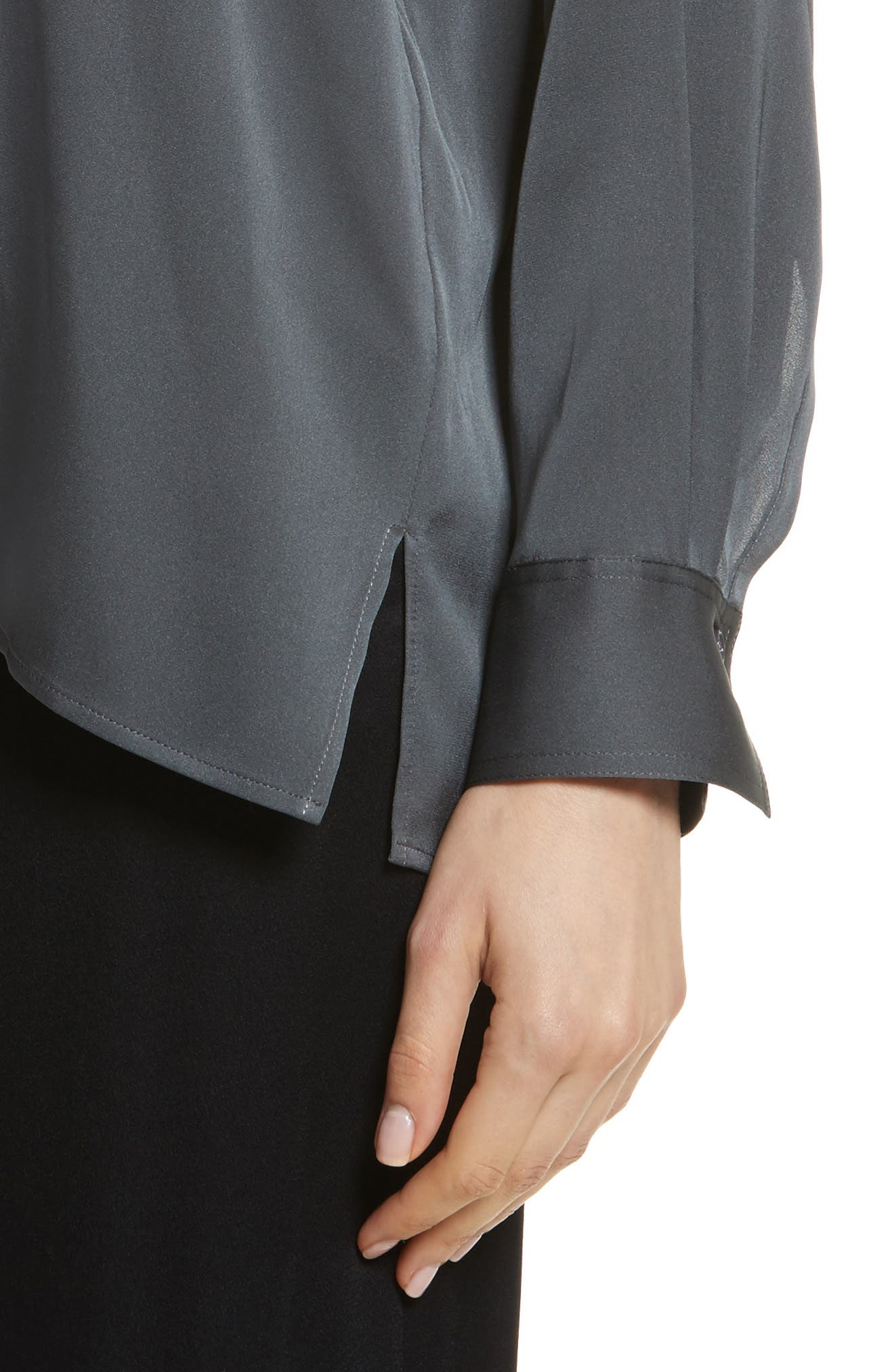 Trapunto Stretch Silk Blouse,                             Alternate thumbnail 4, color,                             Mineral