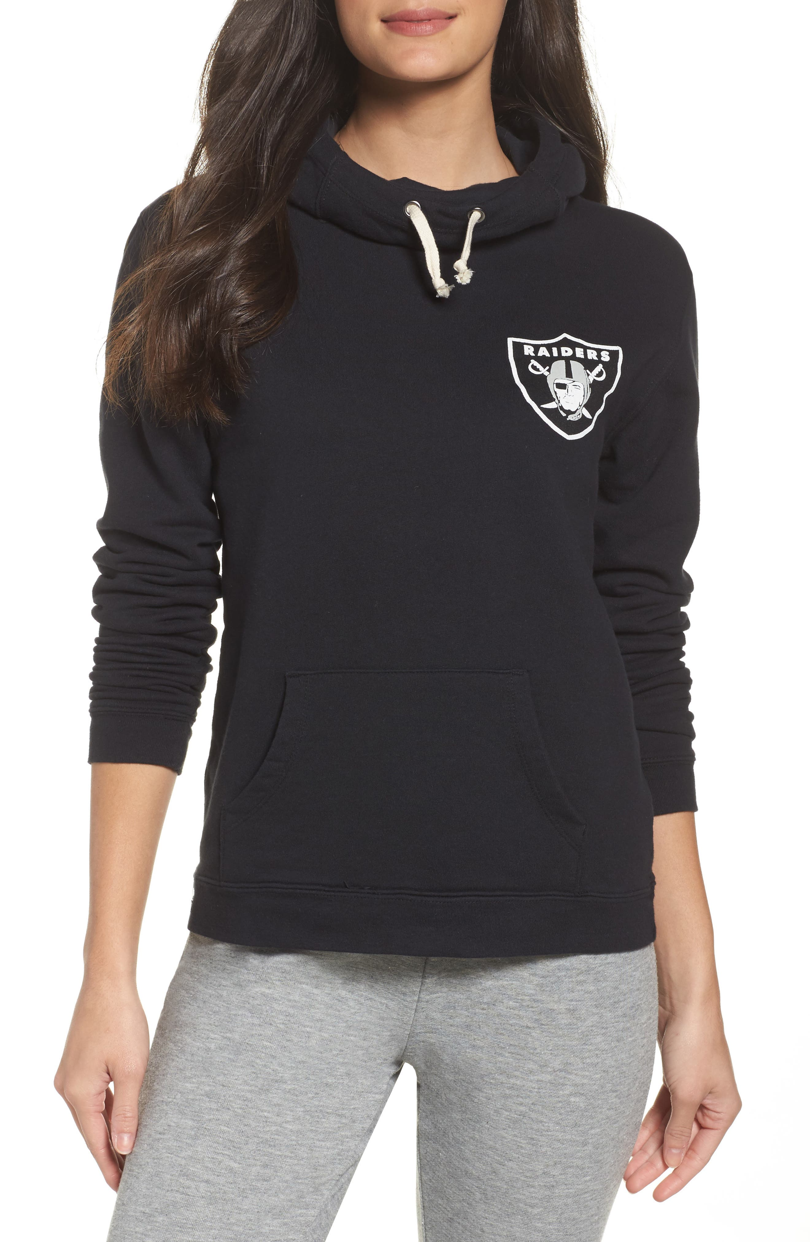 NFL Oakland Raiders Sunday Hoodie,                             Main thumbnail 1, color,                             True Black