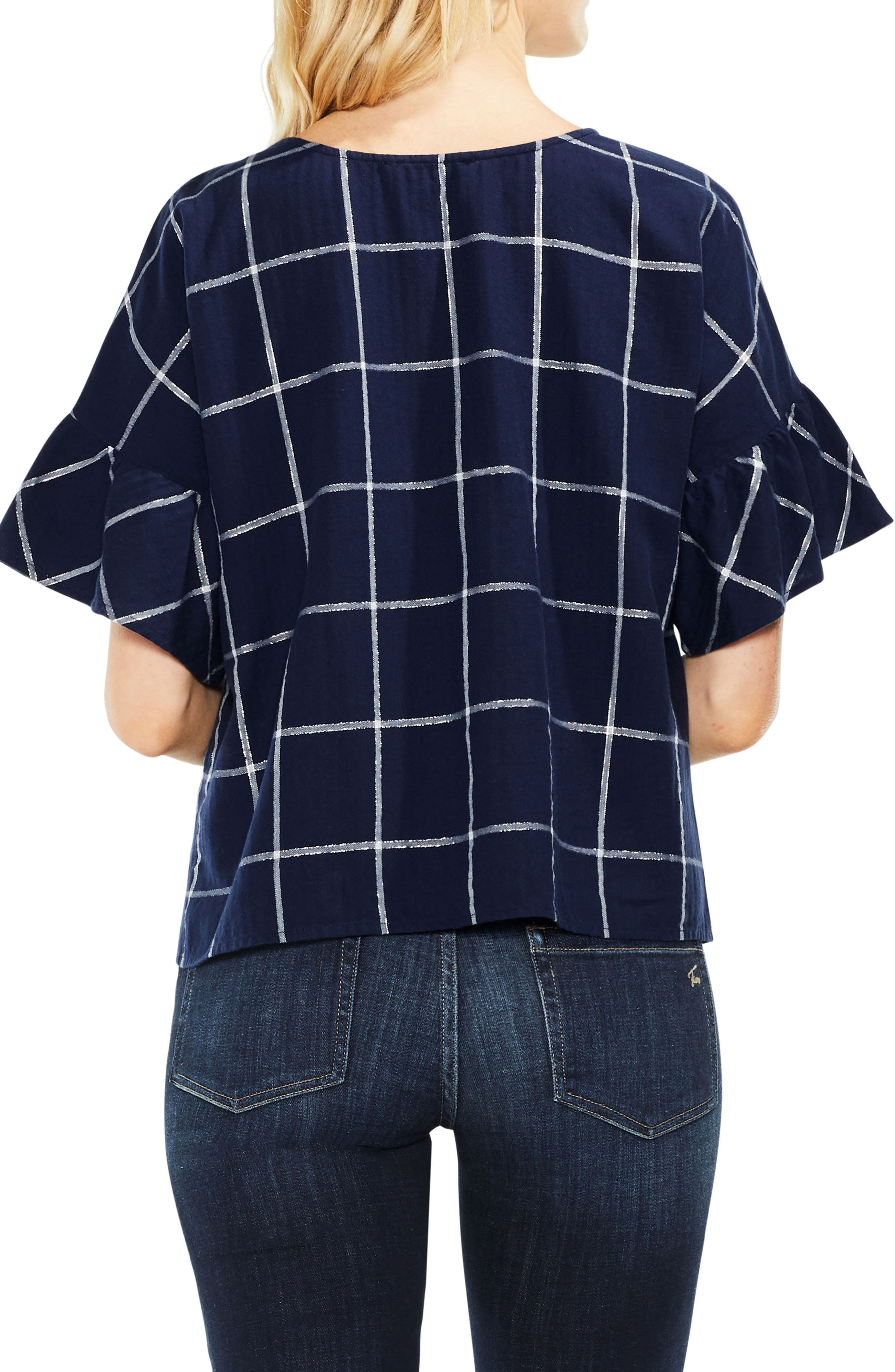 Alternate Image 2  - Two by Vince Camuto Ruffle Sleeve Windowpane Top