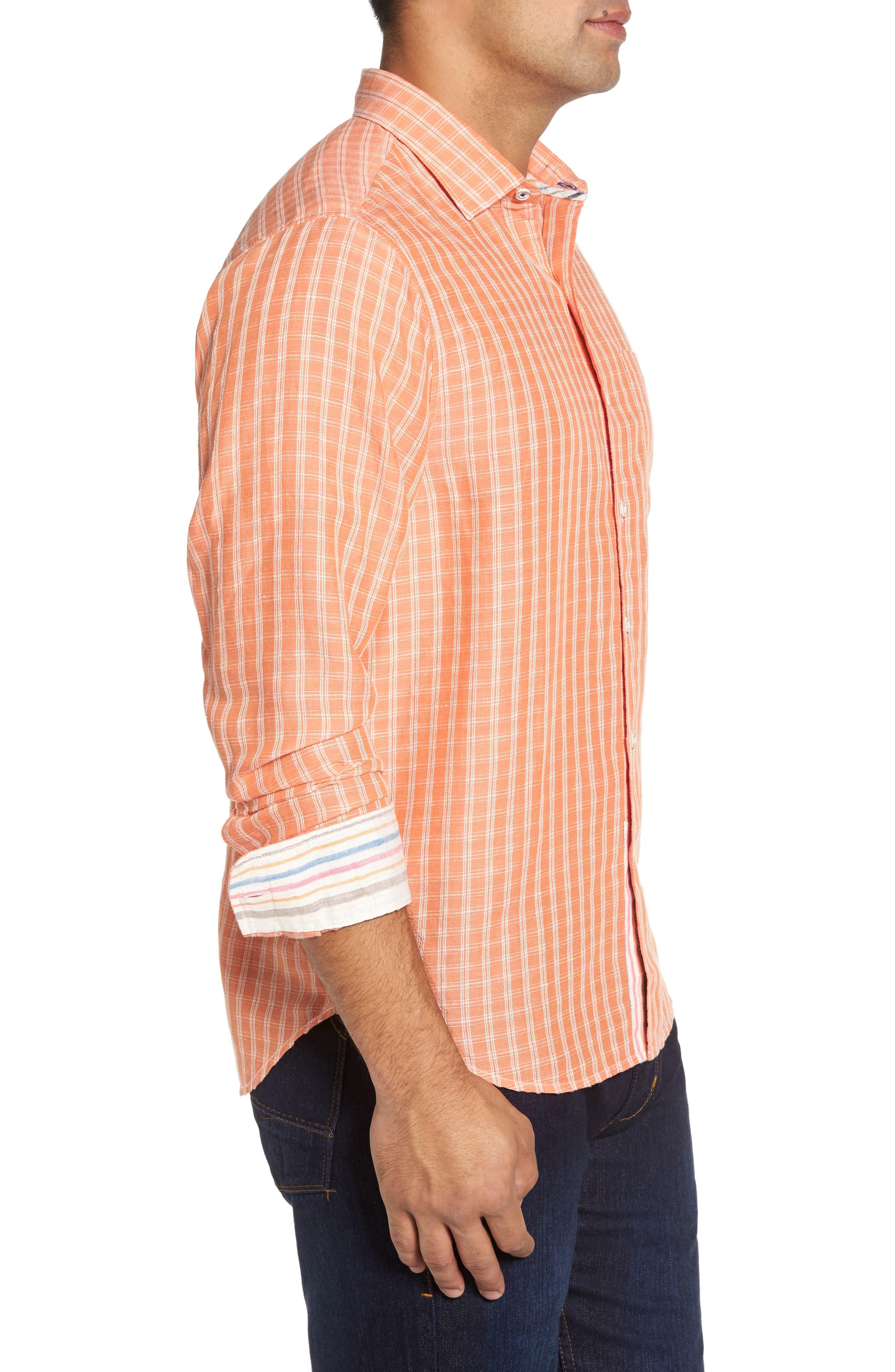 Plaid Sand Linen Blend Sport Shirt,                             Alternate thumbnail 3, color,                             Curuba