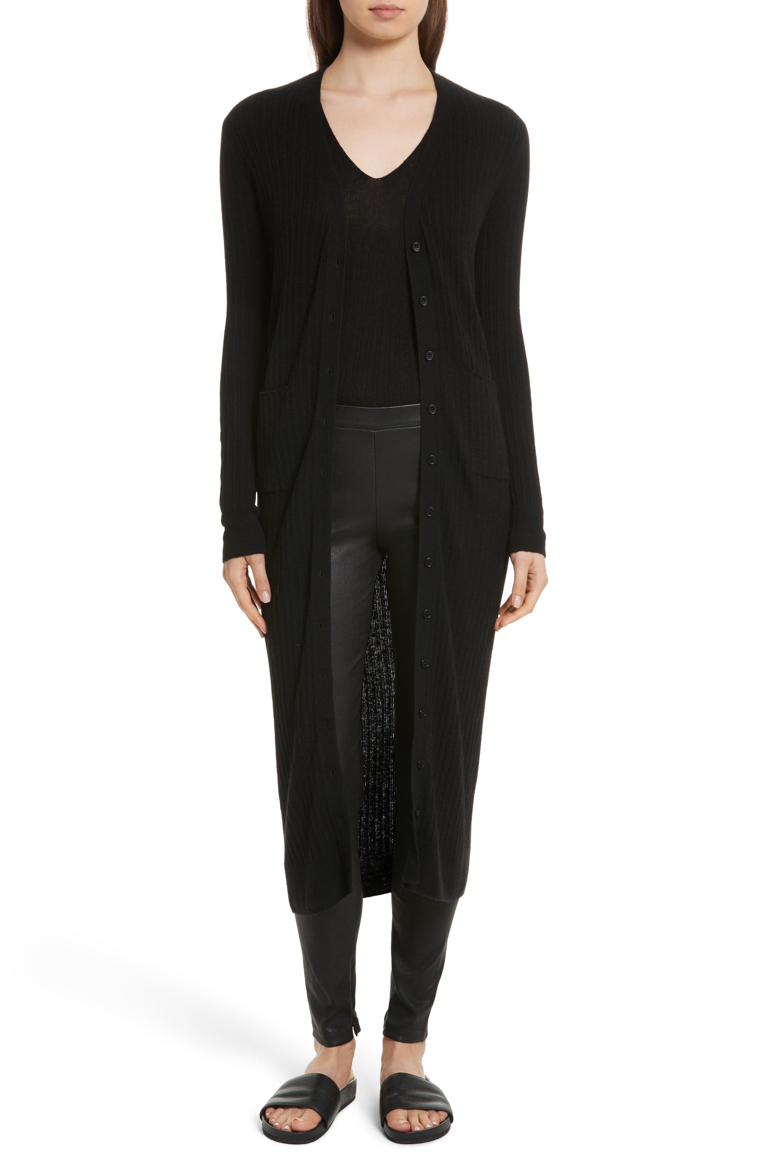 Long Ribbed Cashmere Cardigan,                         Main,                         color, Black