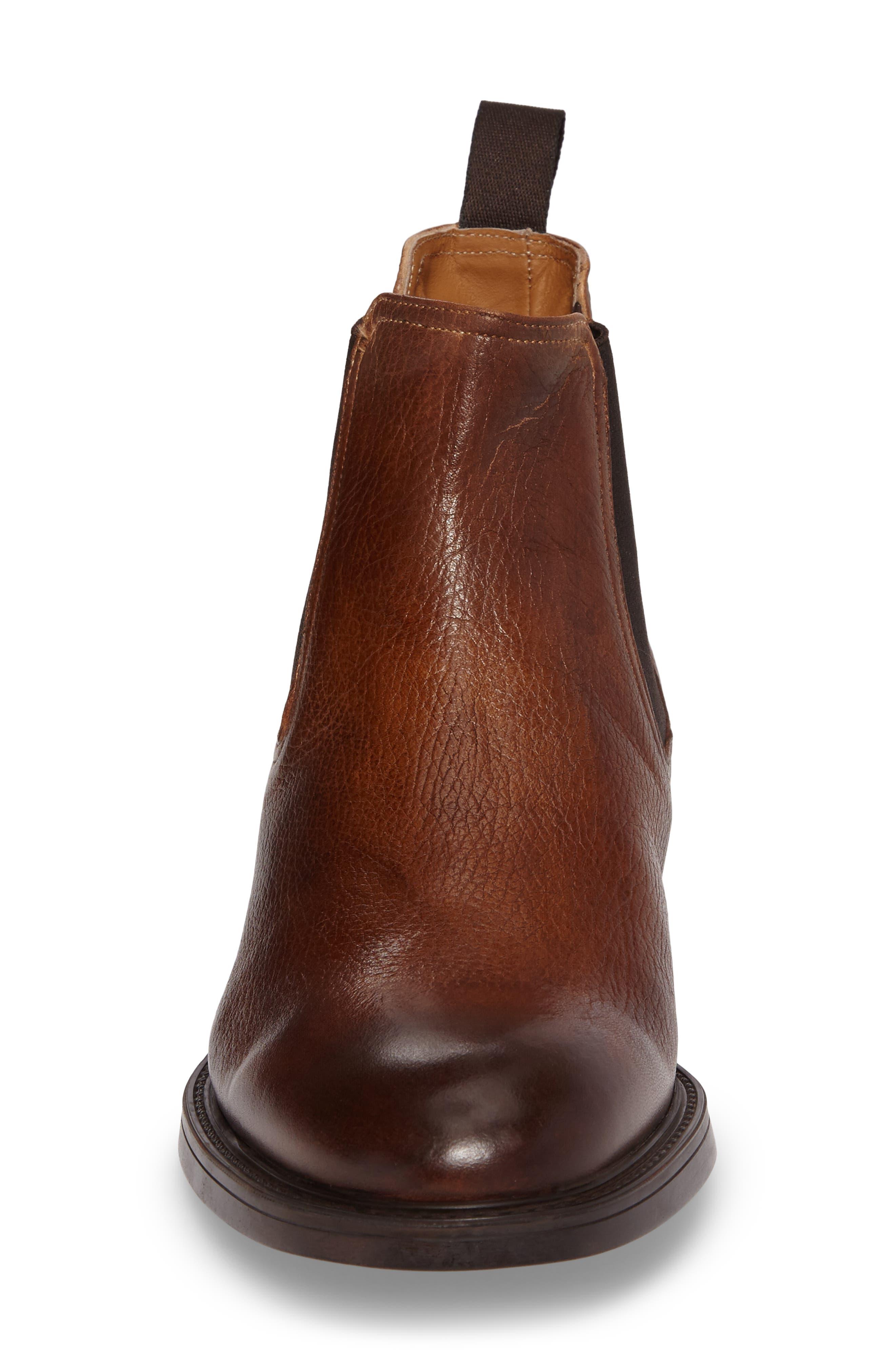Chelsea Boot,                             Alternate thumbnail 4, color,                             Cognac Leather