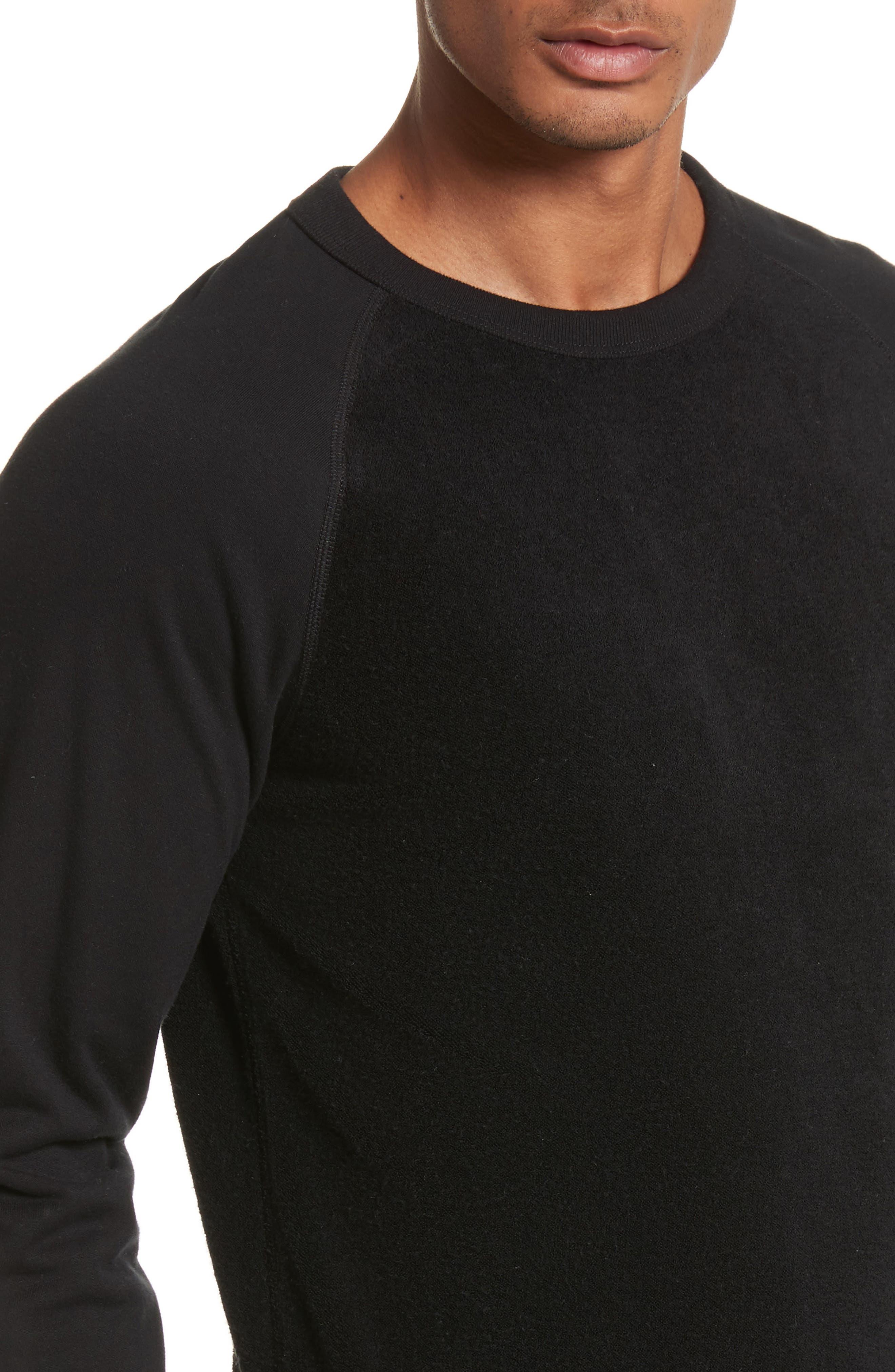 Textured Crewneck Pullover,                             Alternate thumbnail 4, color,                             Black