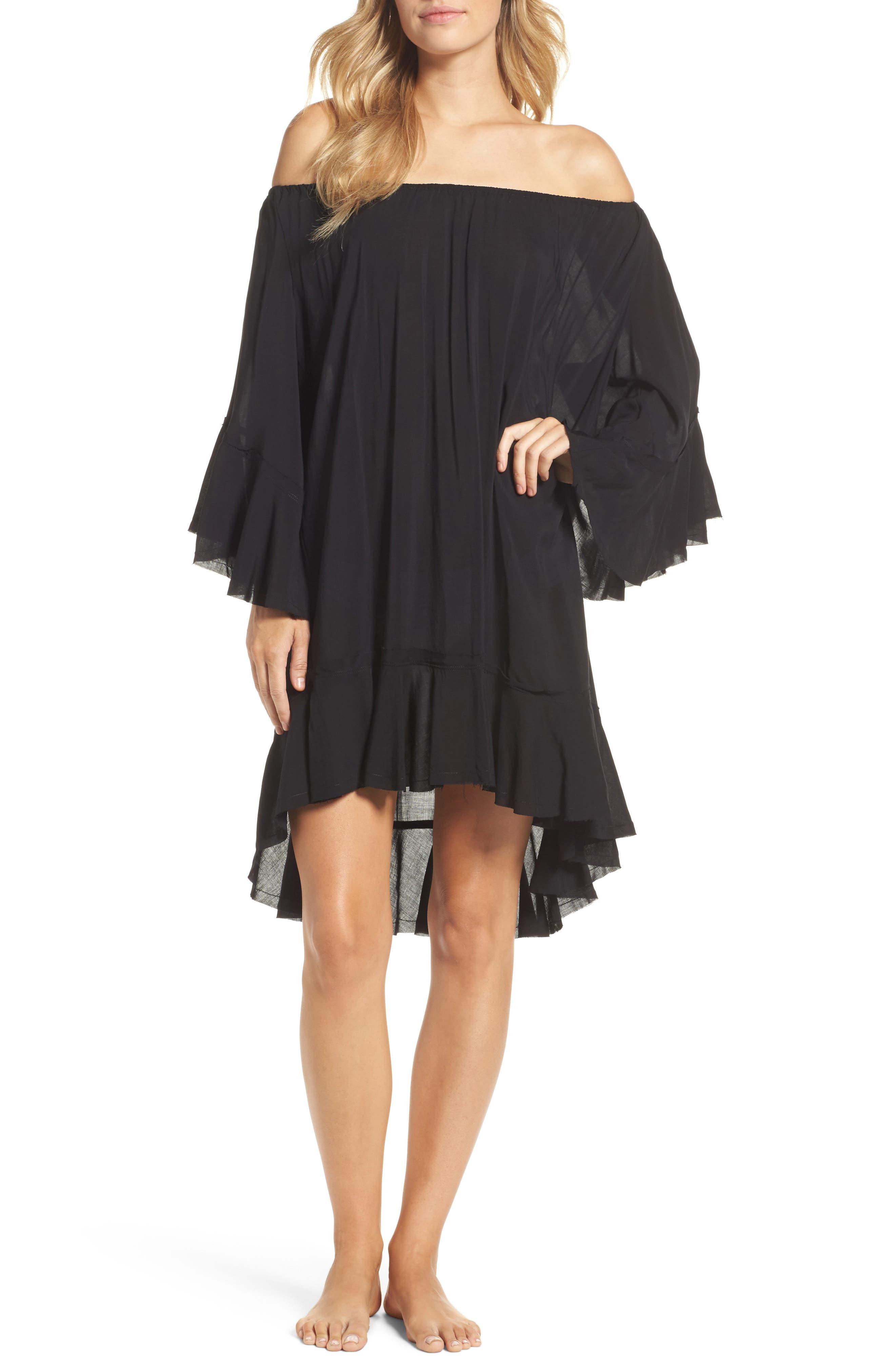Off the Shoulder Cover-Up,                         Main,                         color, Black