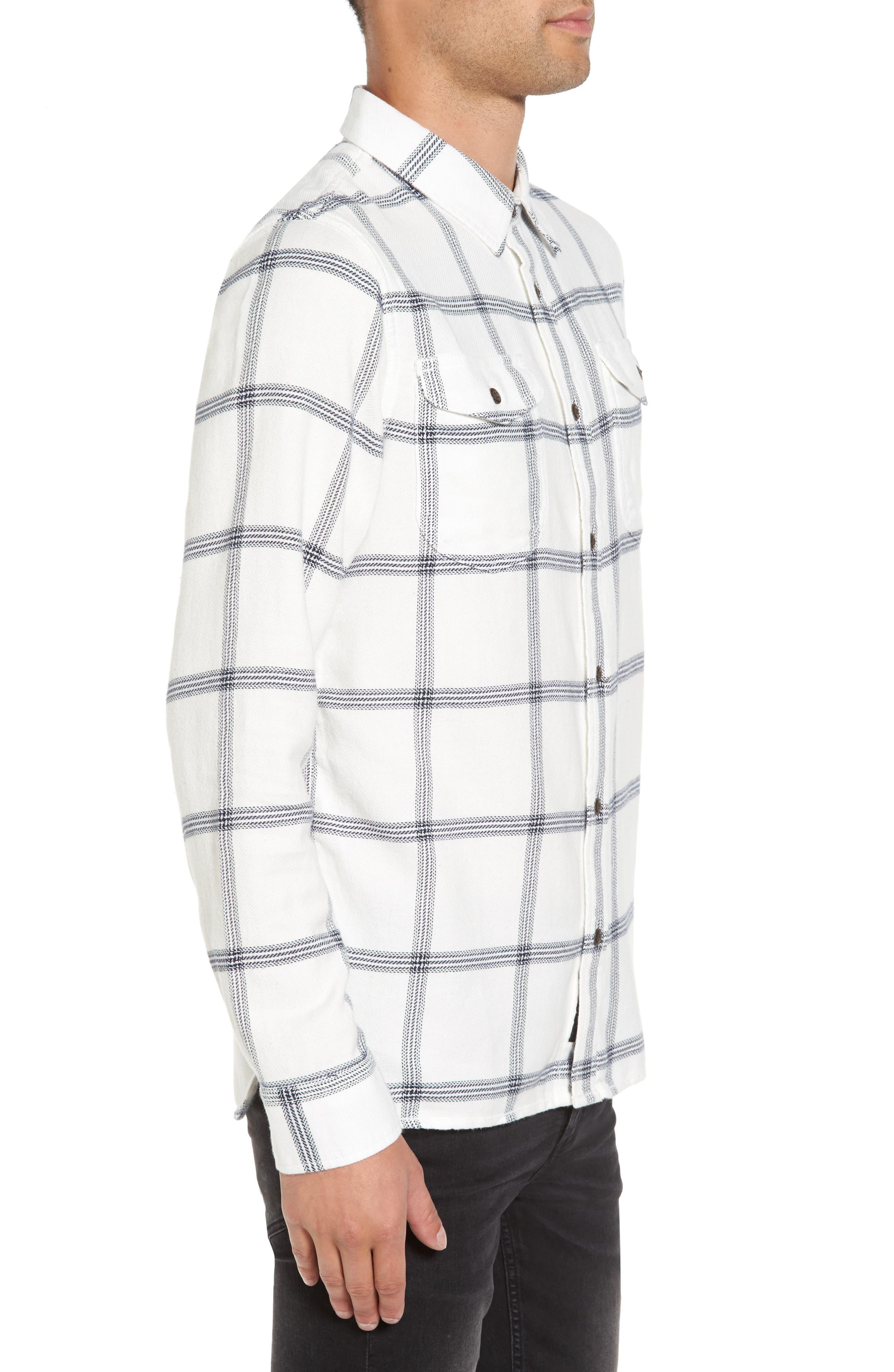 Wayland II Flannel Sport Shirt,                             Alternate thumbnail 3, color,                             Marshmallow/ Dress Blues