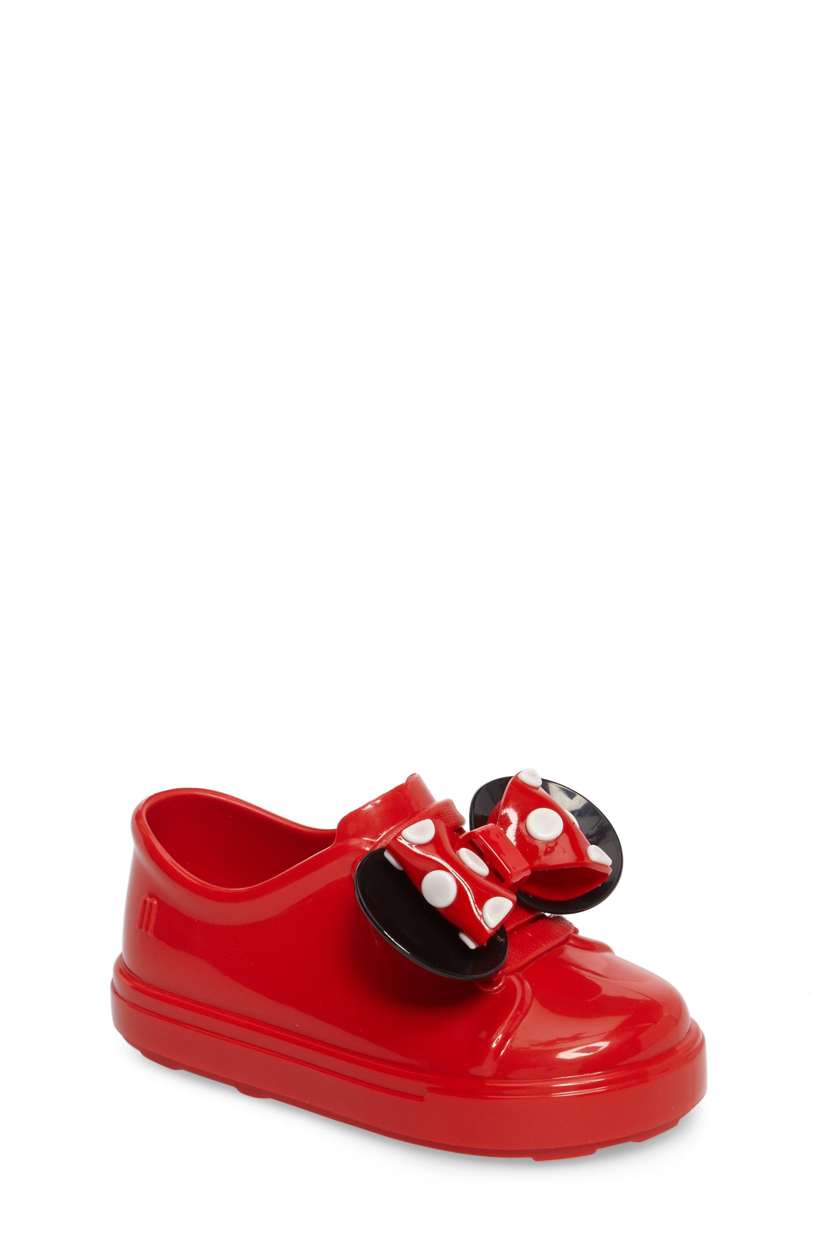 Mini Melissa Disney<sup>®</sup> Be Minnie Slip-On Sneaker,                             Main thumbnail 1, color,                             Black/ Bordeaux