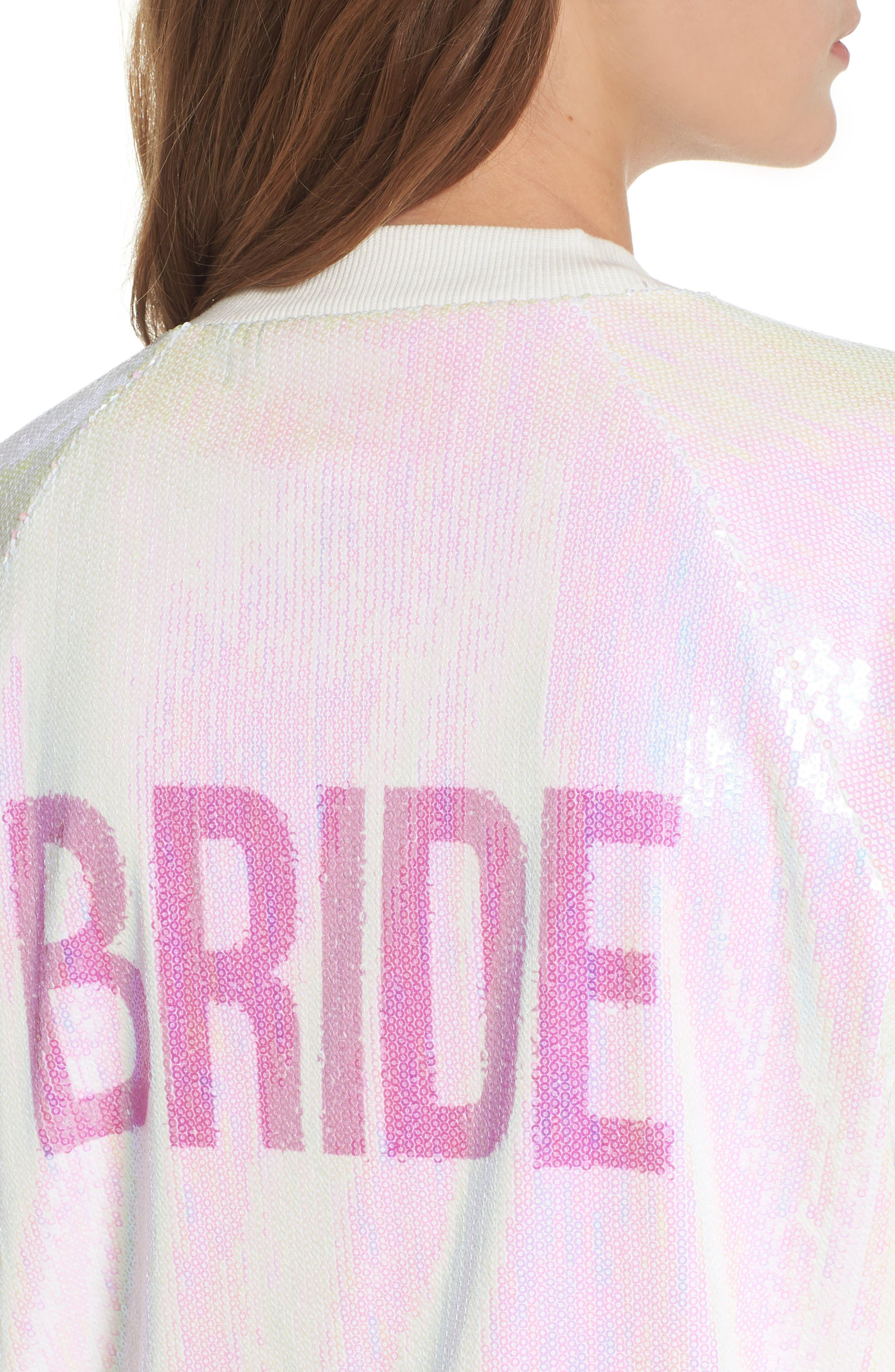 Sparkle Bride Bomber Jacket,                             Alternate thumbnail 4, color,                             Sparkle Bride