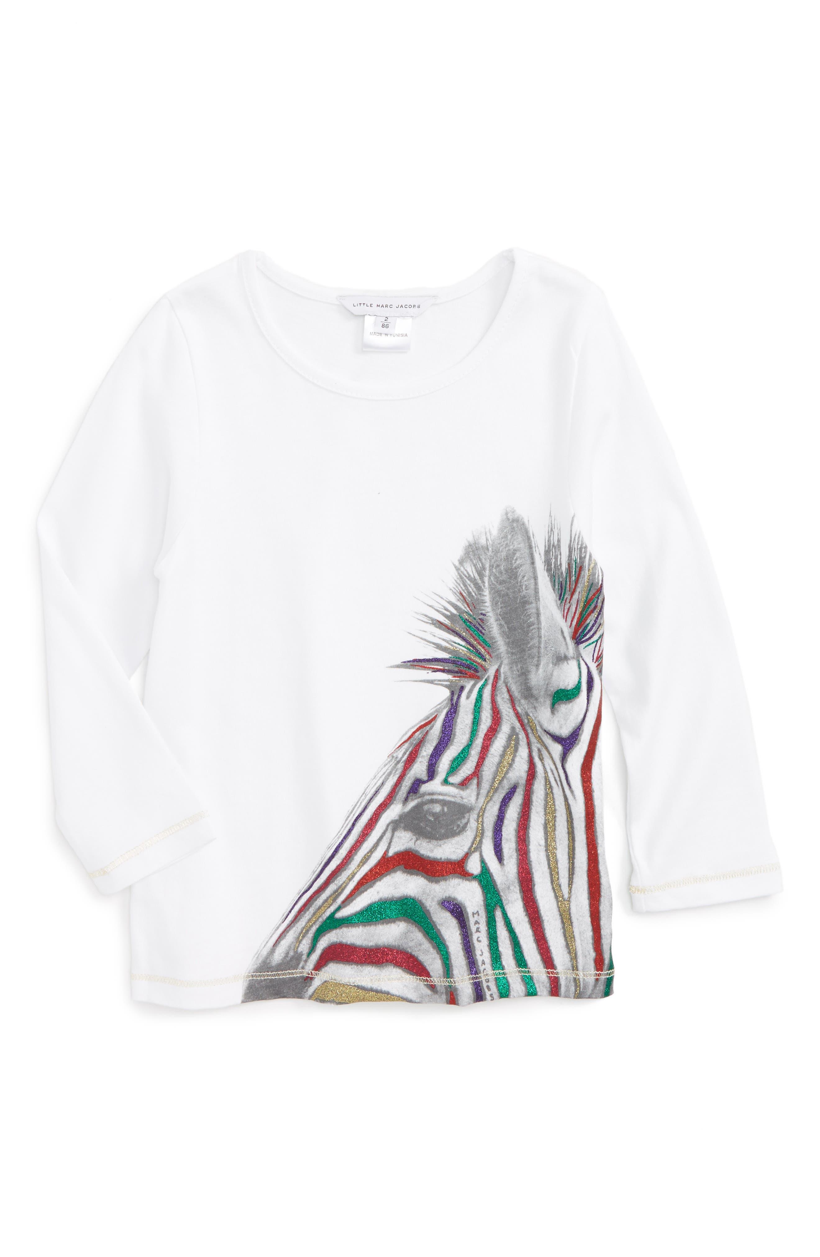 Glitter Zebra Tee,                         Main,                         color, White