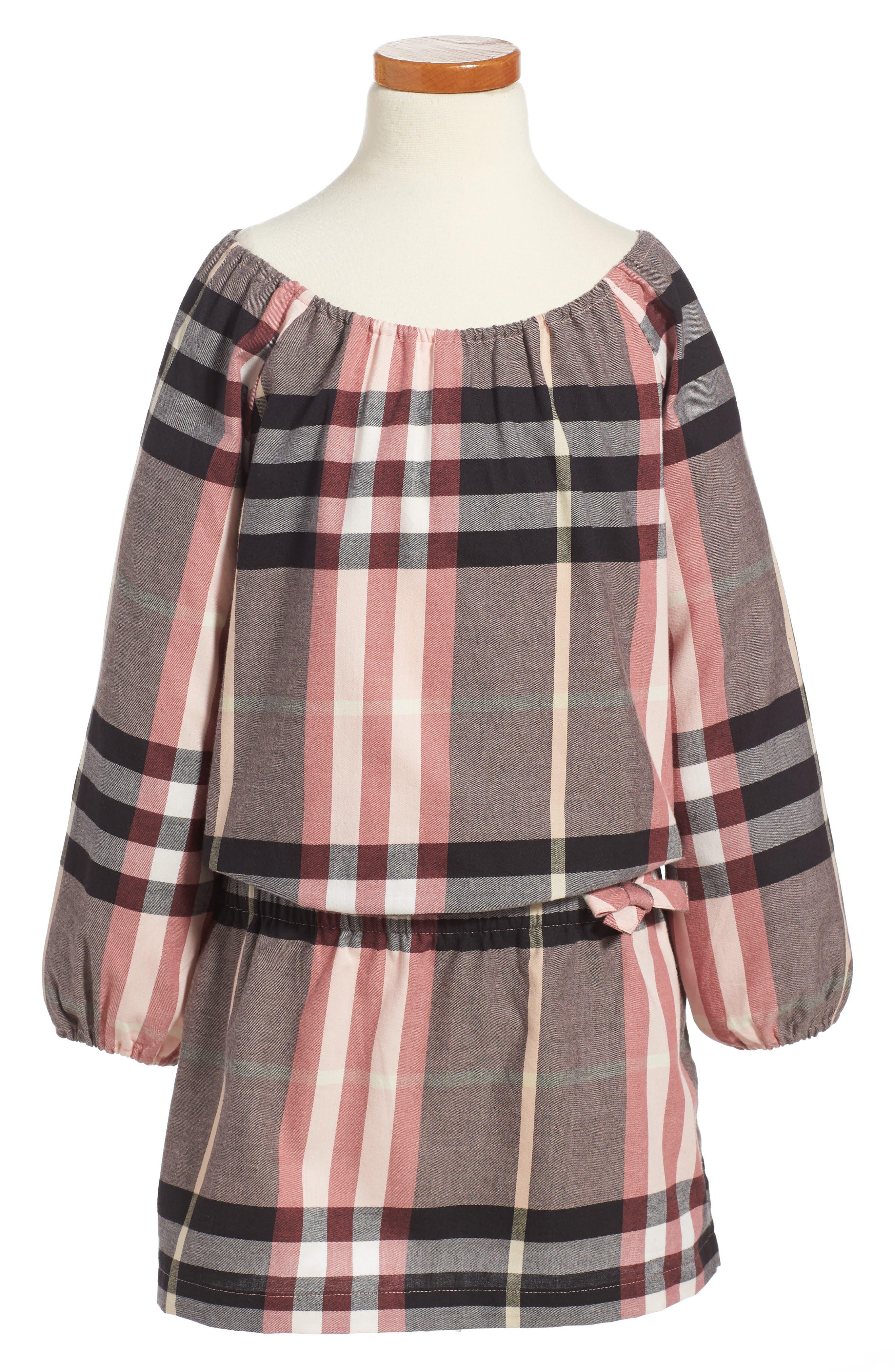 Kadyann Check Flannel Dress,                         Main,                         color, Dusty Pink