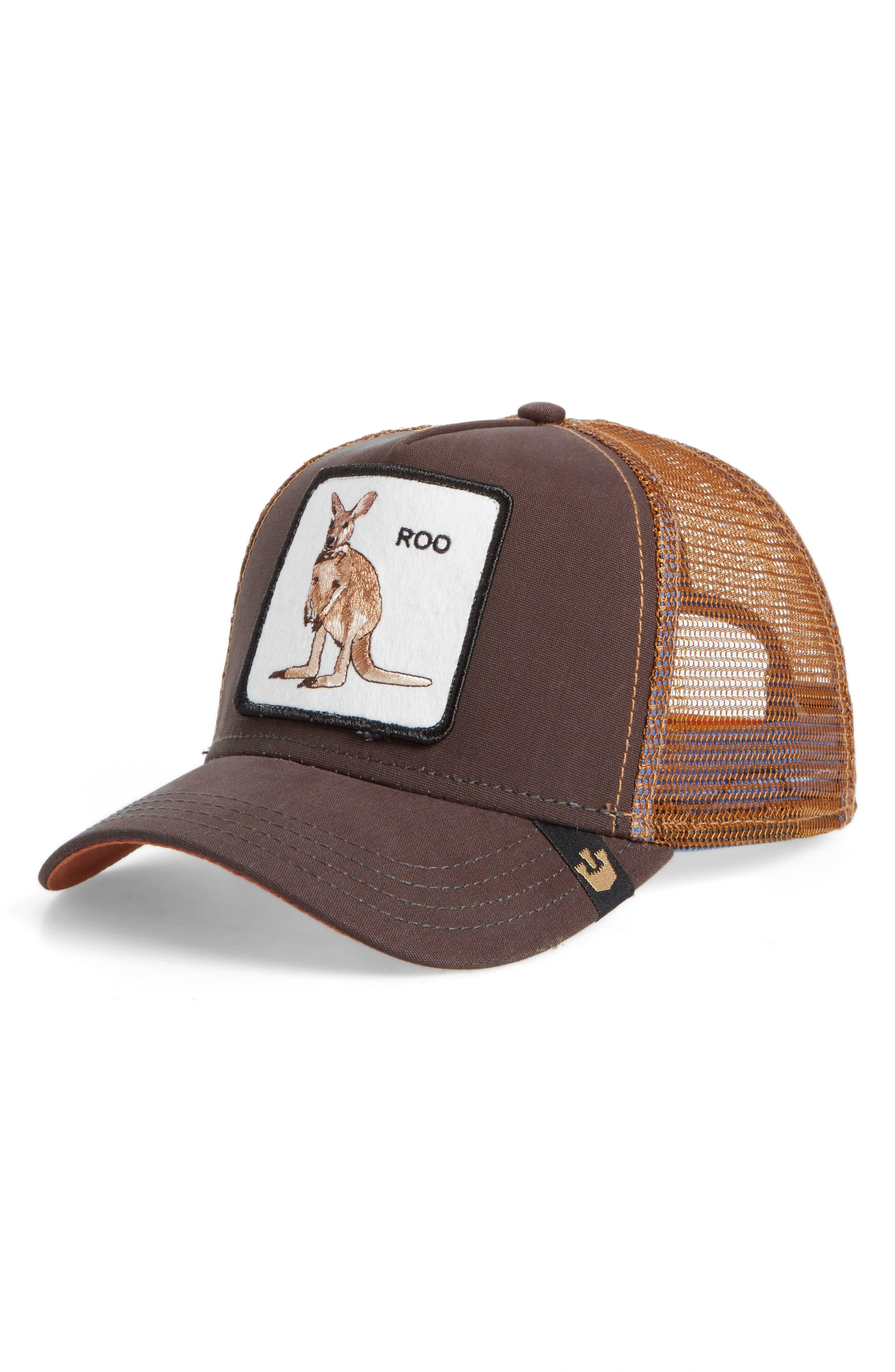 Kangaroo Trucker Hat,                         Main,                         color, Brown