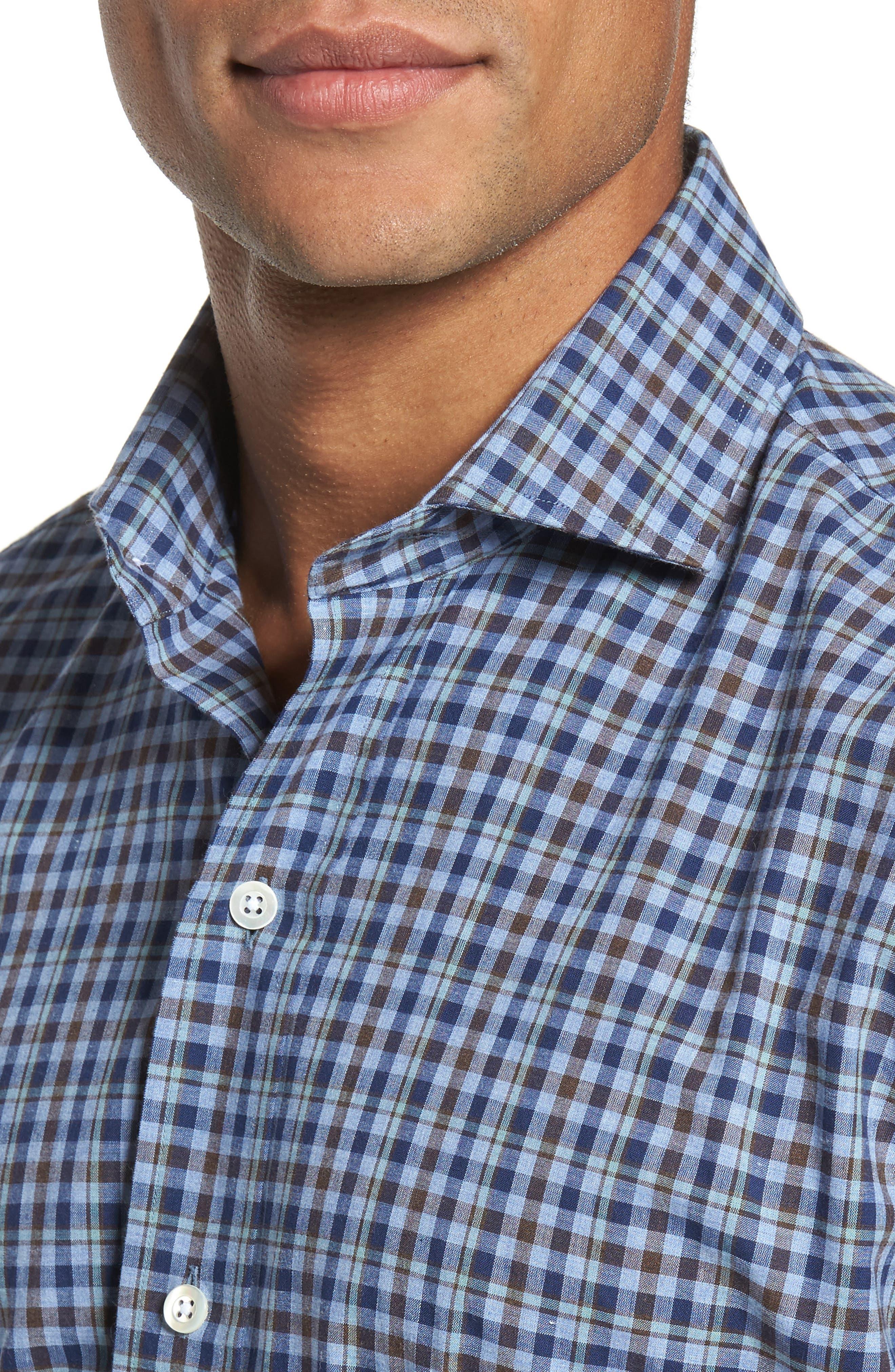 Alden Slim Fit Plaid Sport Shirt,                             Alternate thumbnail 4, color,                             Blue