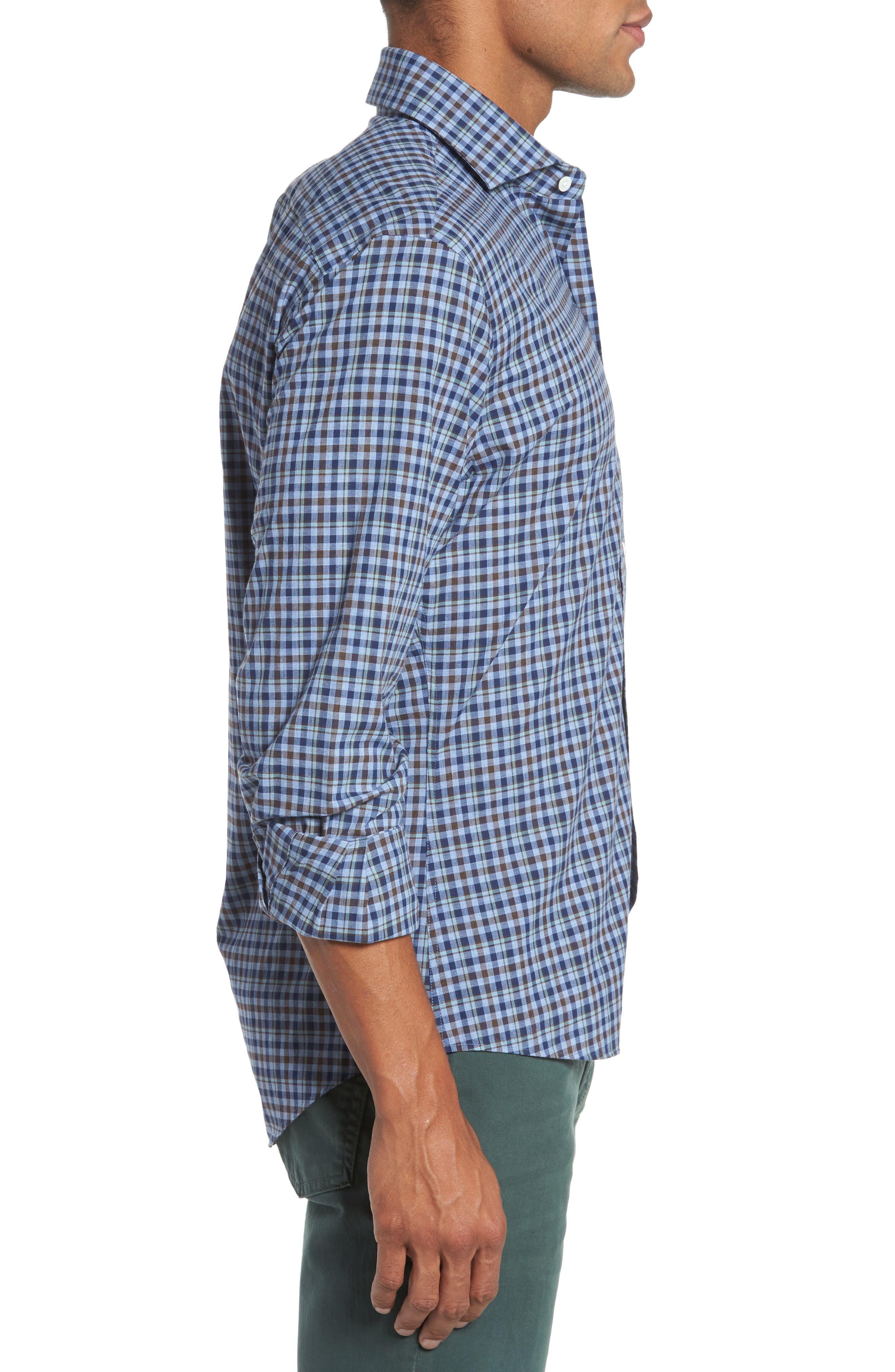 Alden Slim Fit Plaid Sport Shirt,                             Alternate thumbnail 3, color,                             Blue