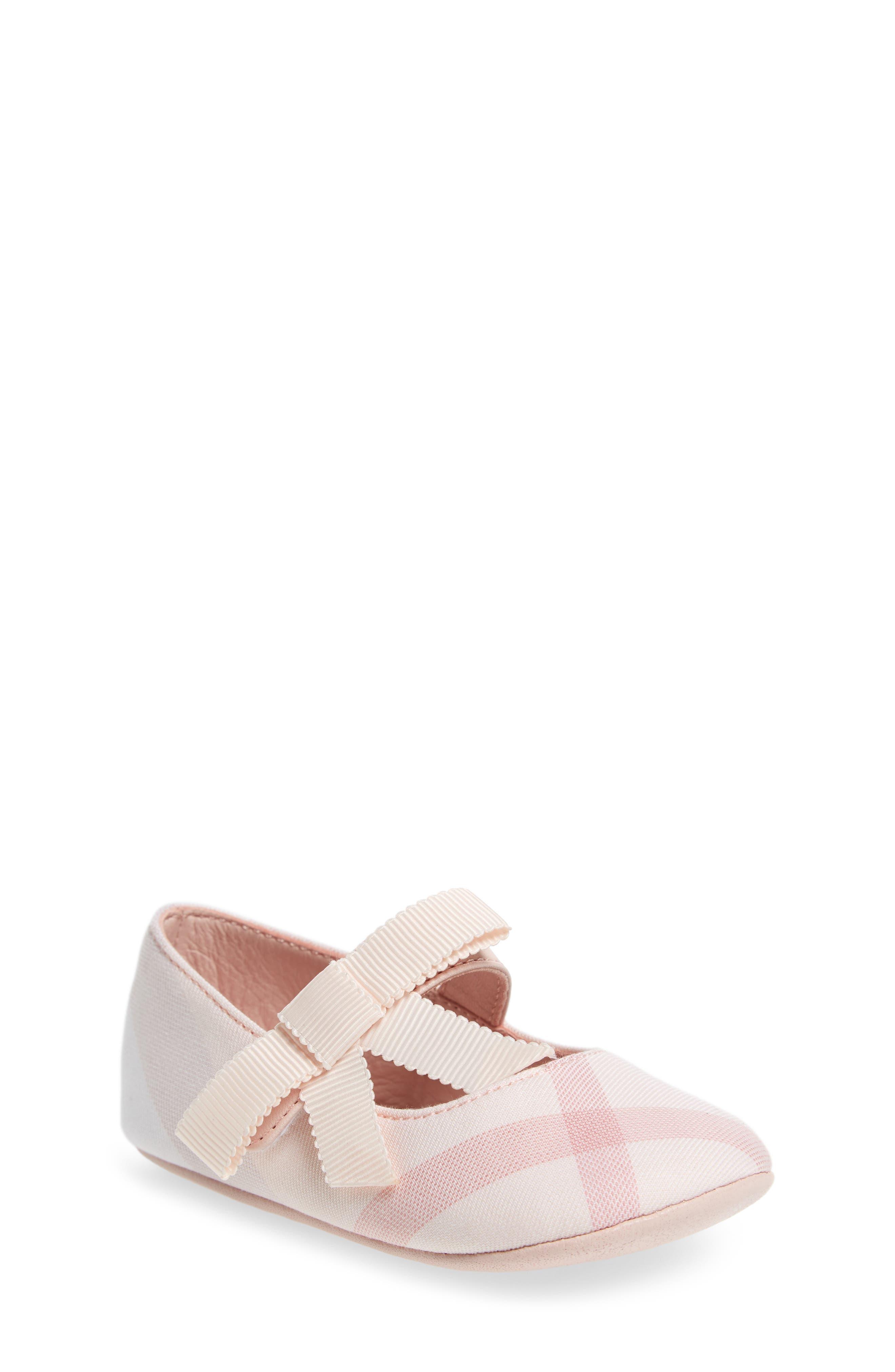 Main Image - Burberry Stark Mary Jane Crib Shoe (Baby)