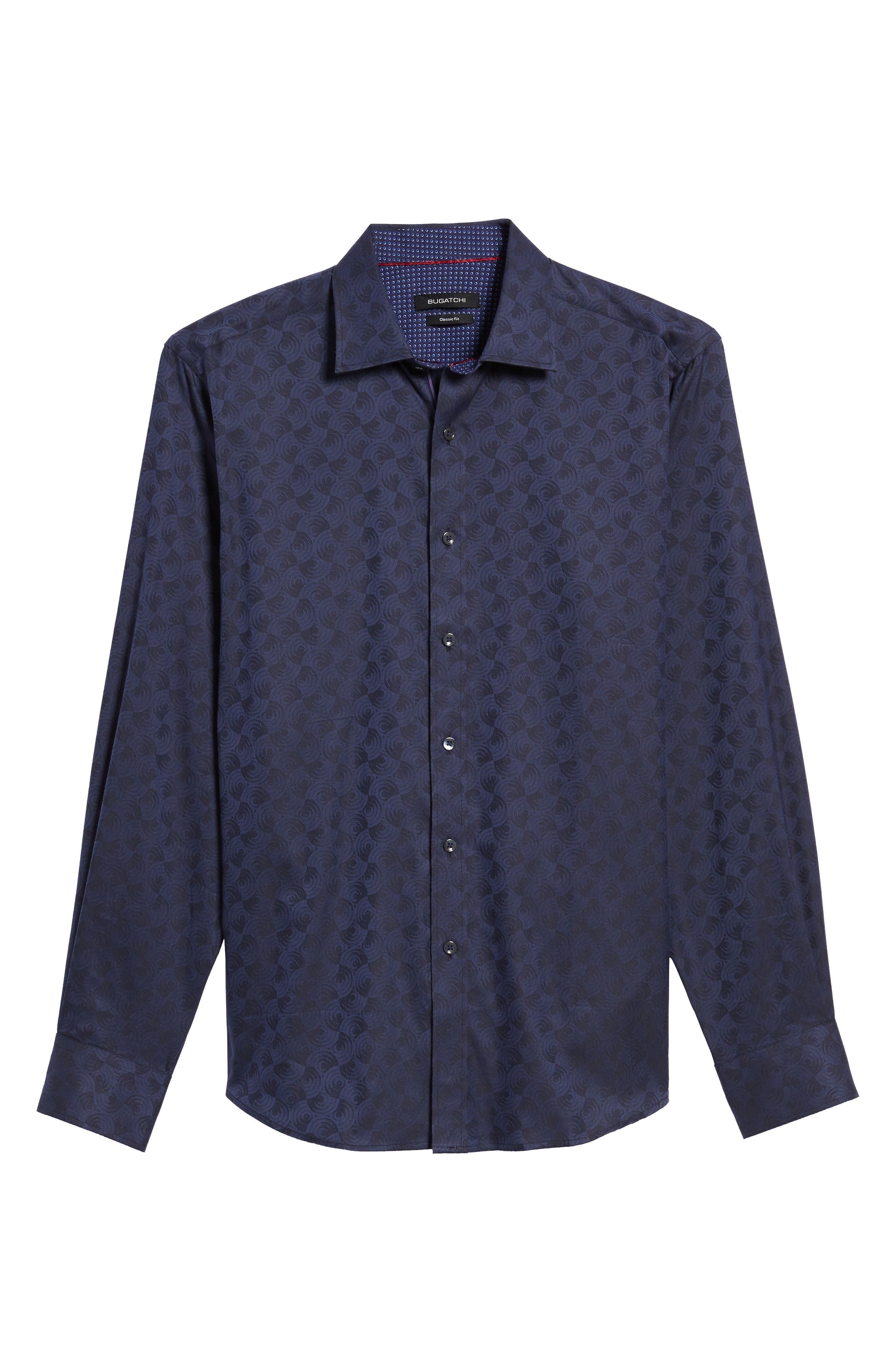 Alternate Image 6  - Bugatchi Classic Fit Swirl Print Sport Shirt
