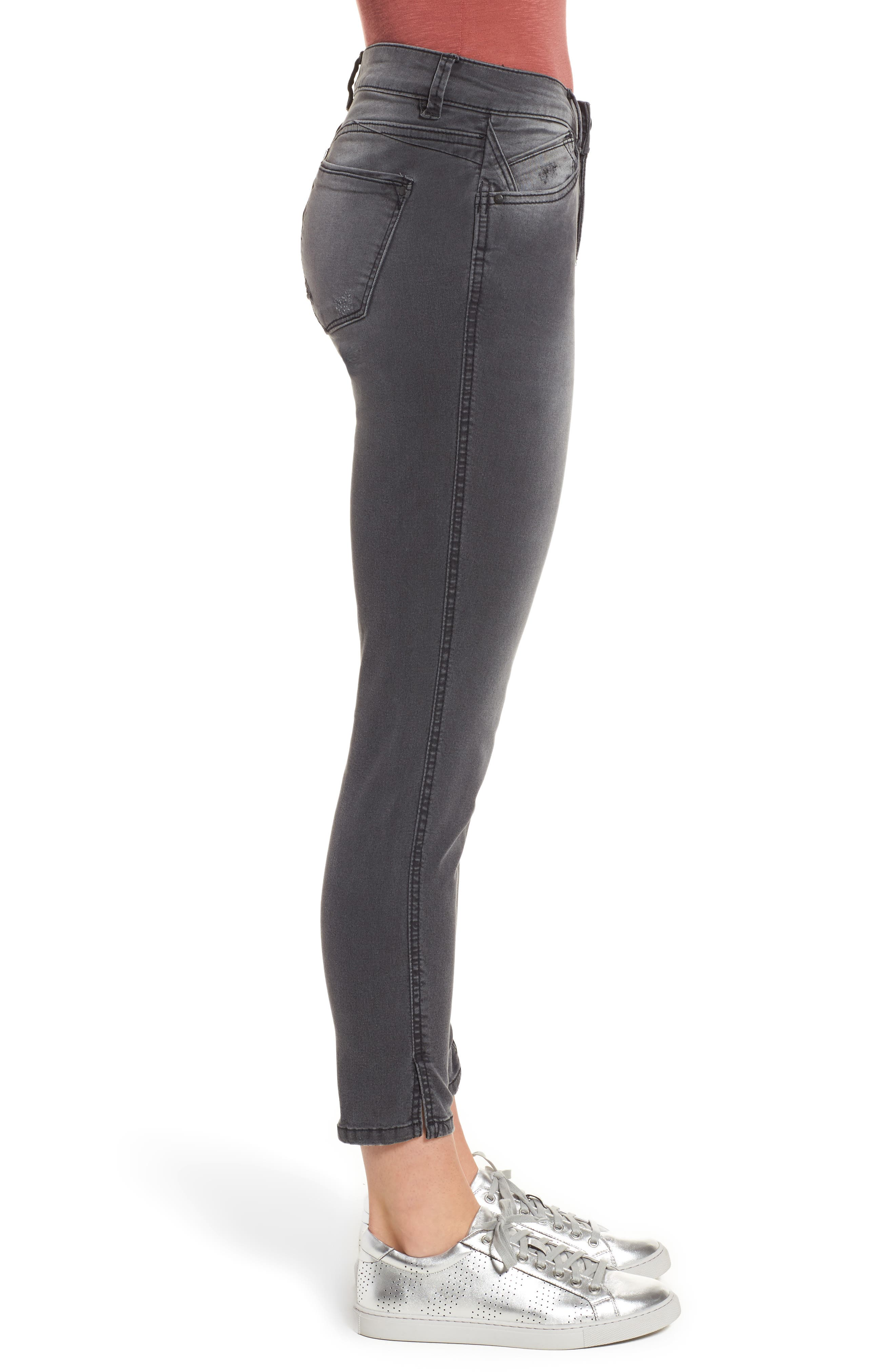 Slit Skinny Ankle Jeans,                             Alternate thumbnail 3, color,                             Grey