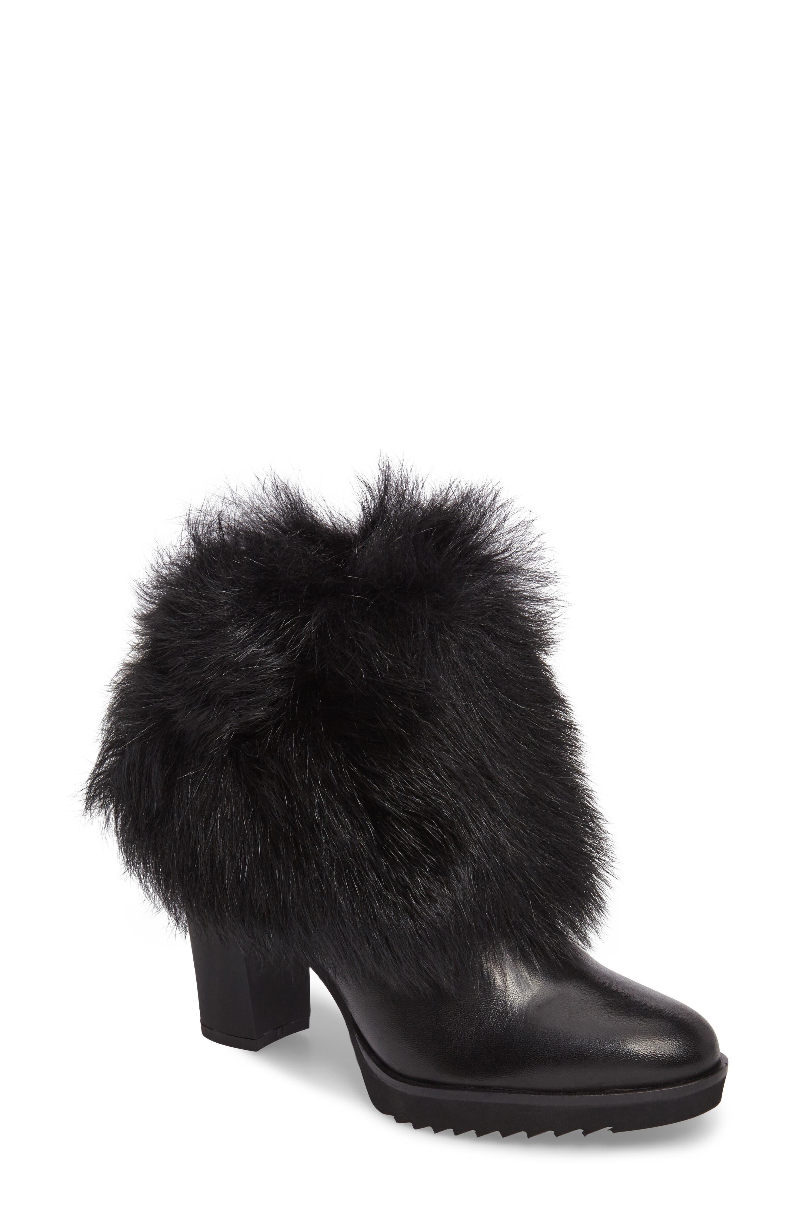 Roslyn Block Heel Genuine Shearling Bootie,                             Main thumbnail 1, color,                             Black Leather