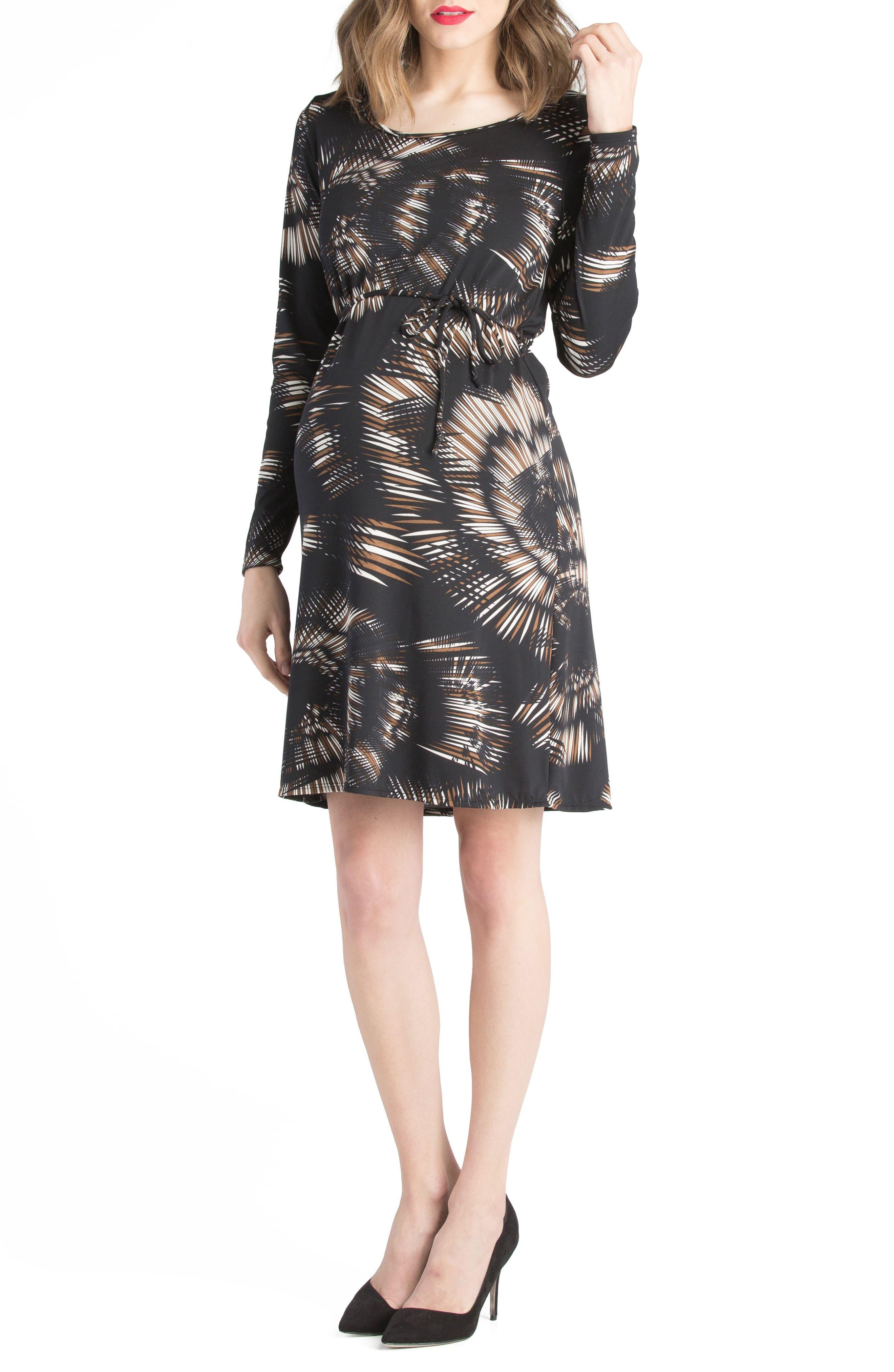 Lilac Clothing Print Maternity Shift Dress