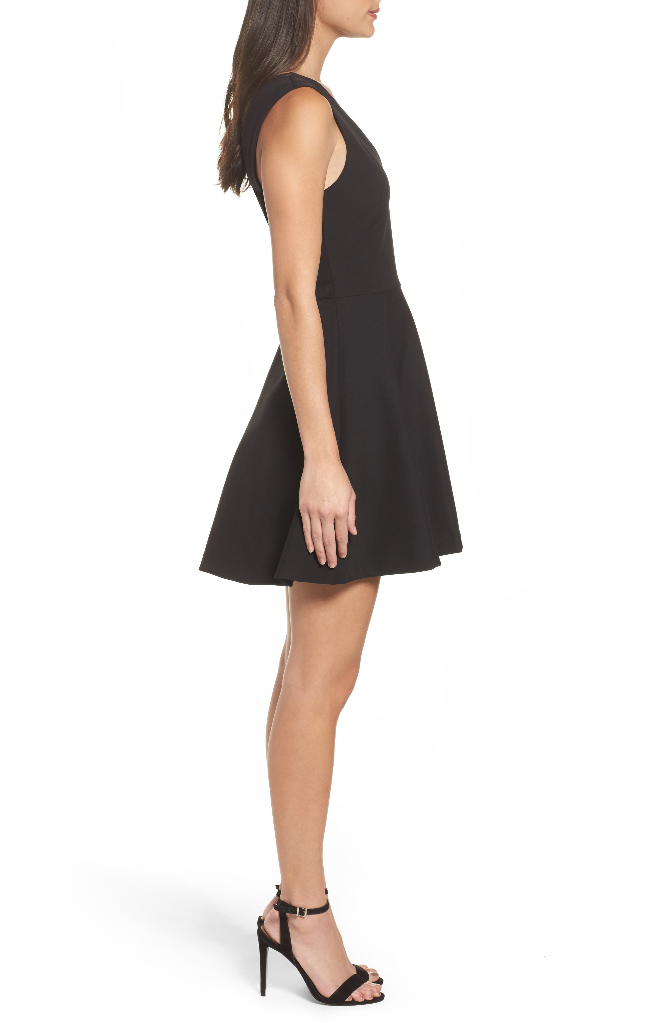 Bianca Back Cutout Fit & Flare Dress,                             Alternate thumbnail 3, color,                             Black