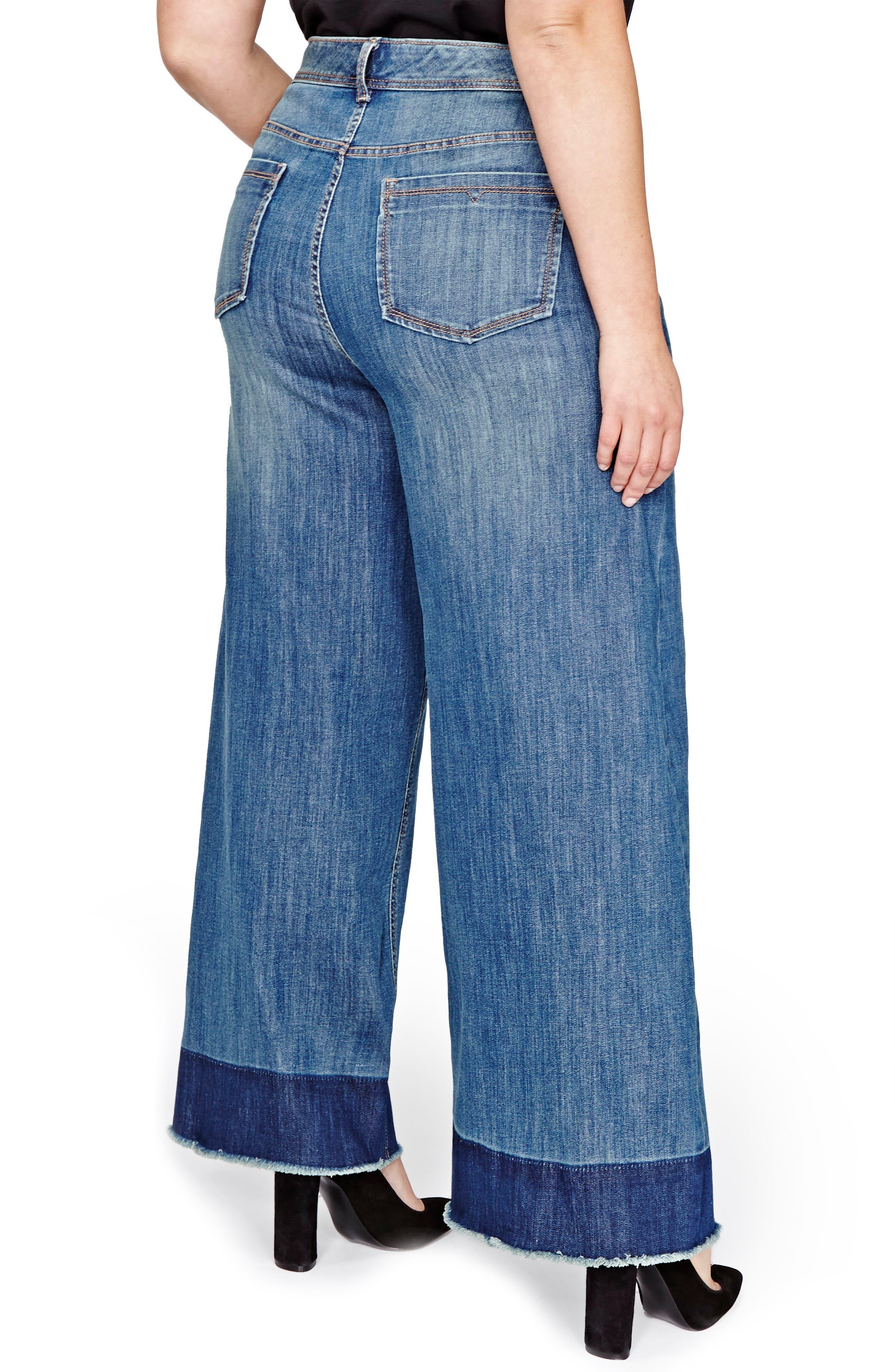 Jordyn Woods High Waist Wide Leg Jeans,                             Alternate thumbnail 2, color,                             Medium Wash Denim