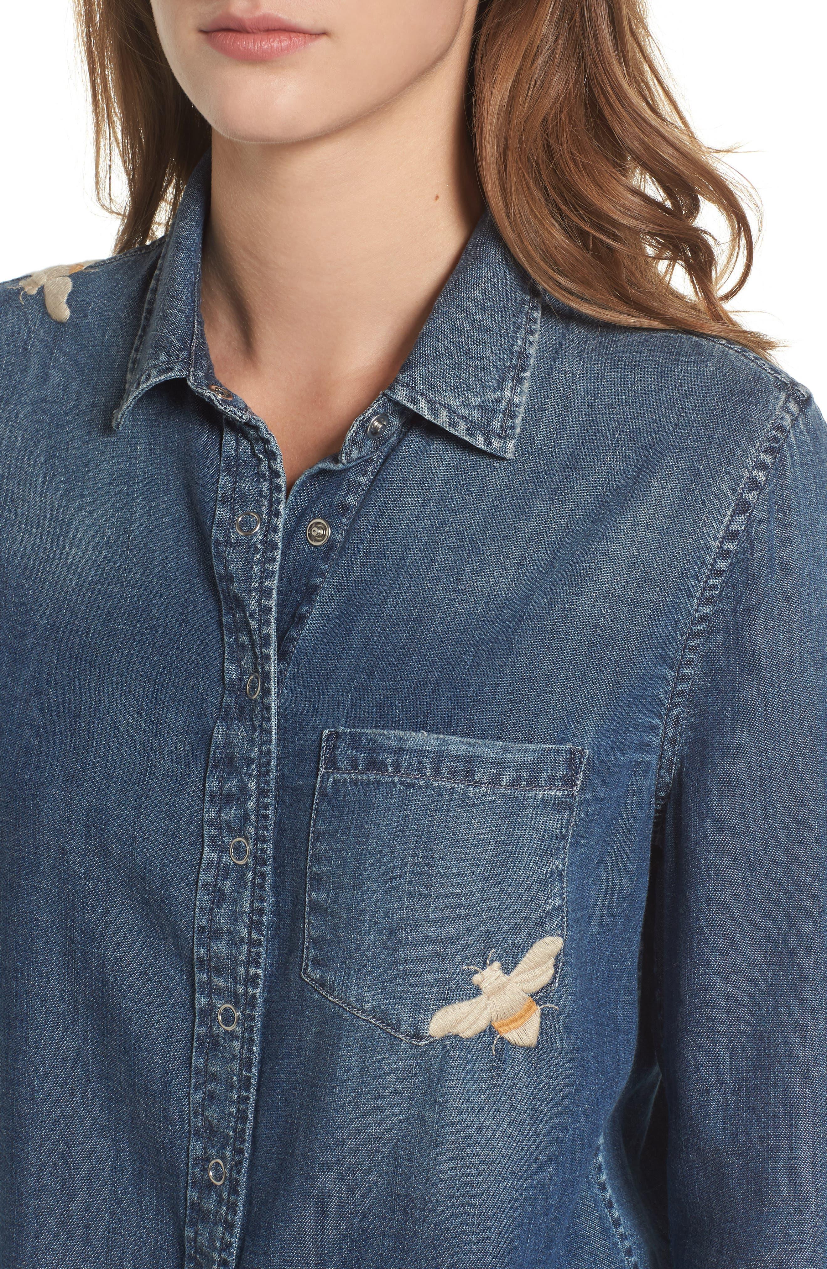Alternate Image 4  - AG Joanna Embroidered Denim Shirt