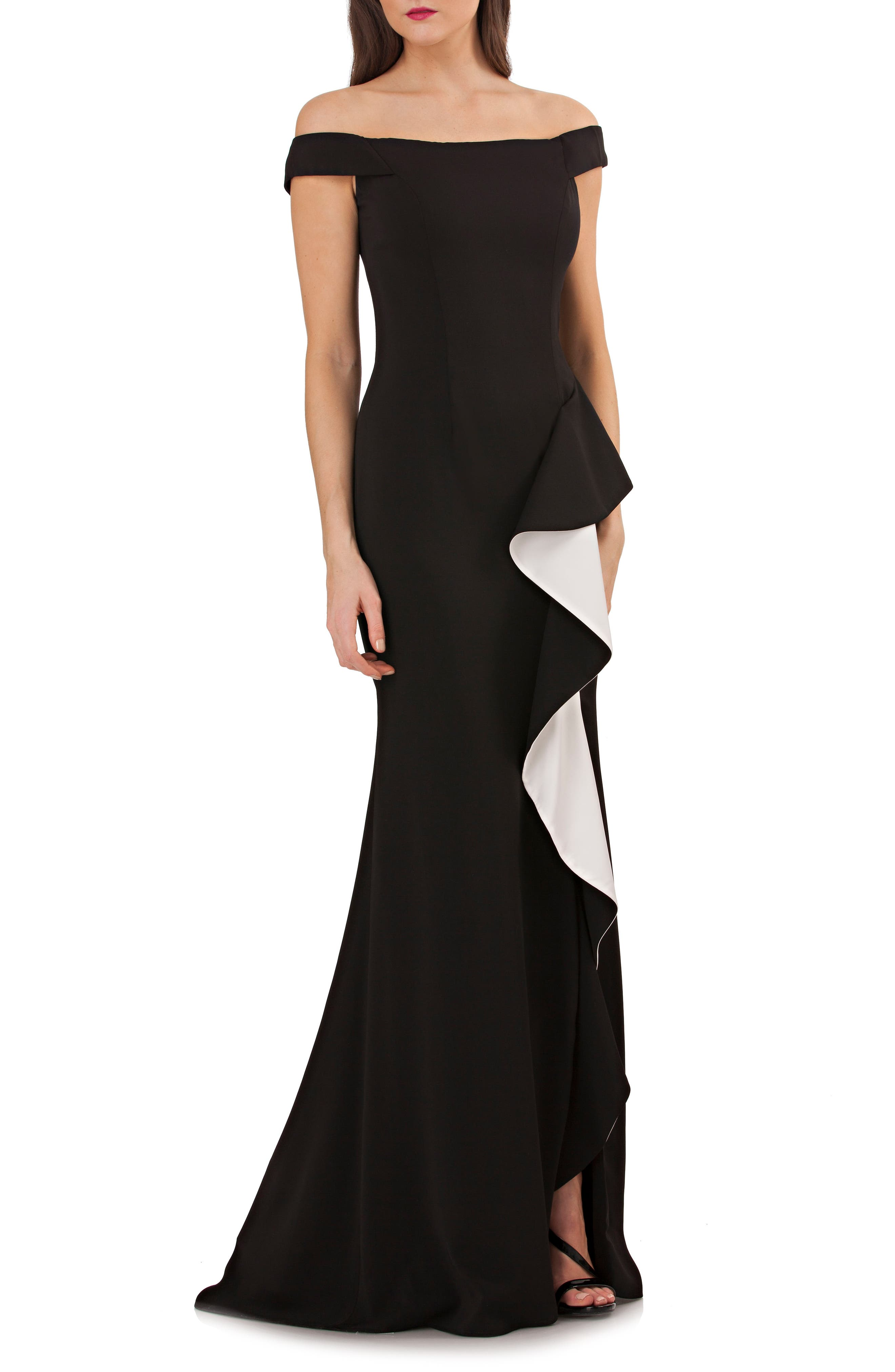 Ruffle Off the Shoulder Gown,                             Main thumbnail 1, color,                             Black/ White