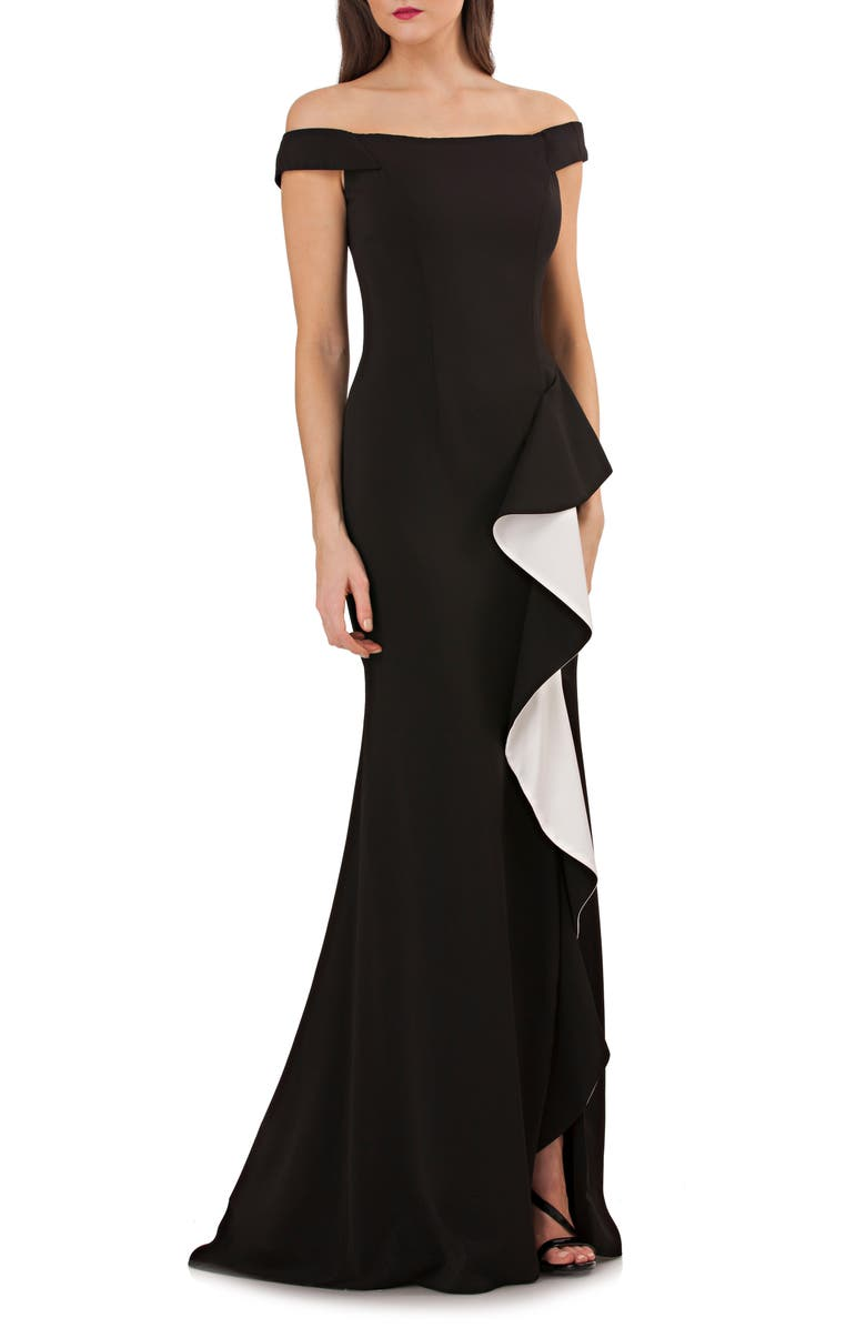 Carmen Marc Valvo Infusion Infusion Off-the-shoulder Gown In Black/ White