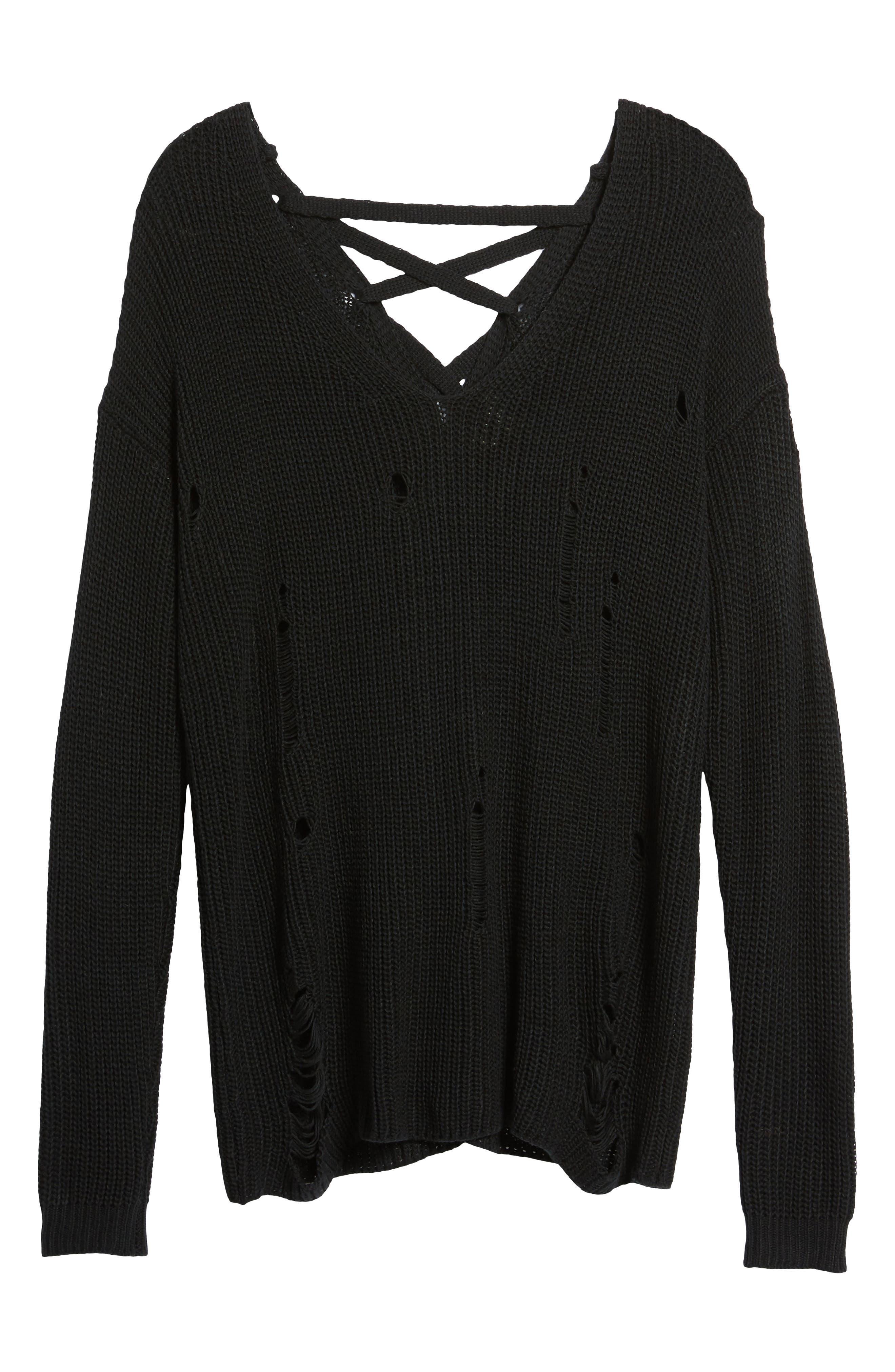Cyndi Sweater,                             Alternate thumbnail 8, color,                             Black