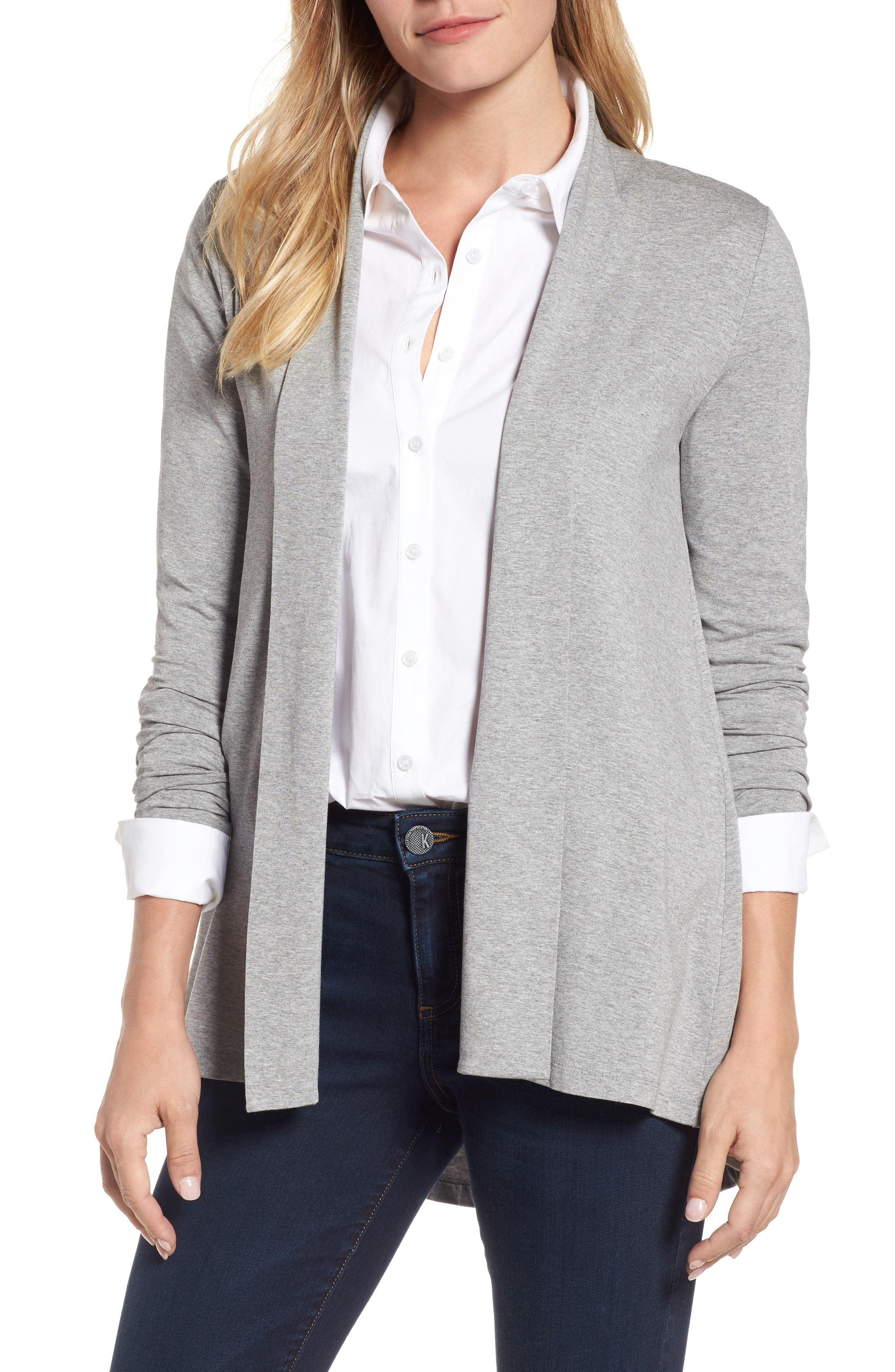 Open Front Cardigan,                         Main,                         color, Light Heather Grey