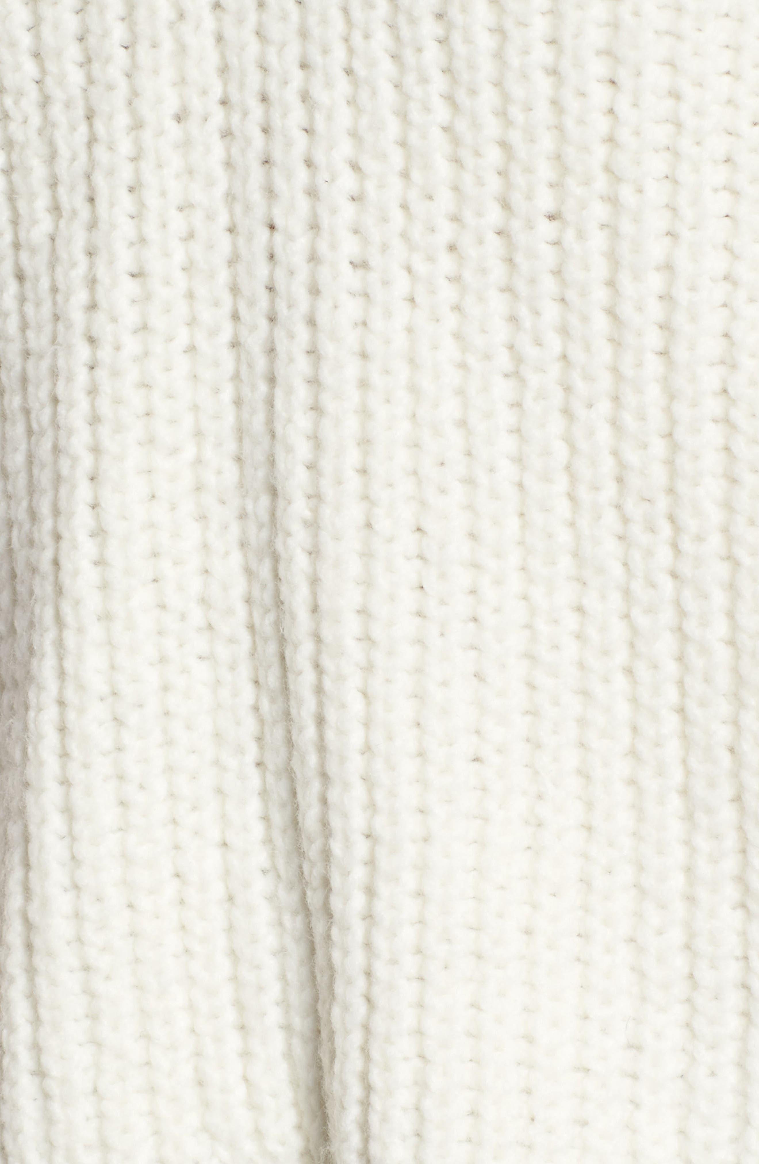 Lace Up Back V-Neck Sweater,                             Alternate thumbnail 5, color,                             Cream