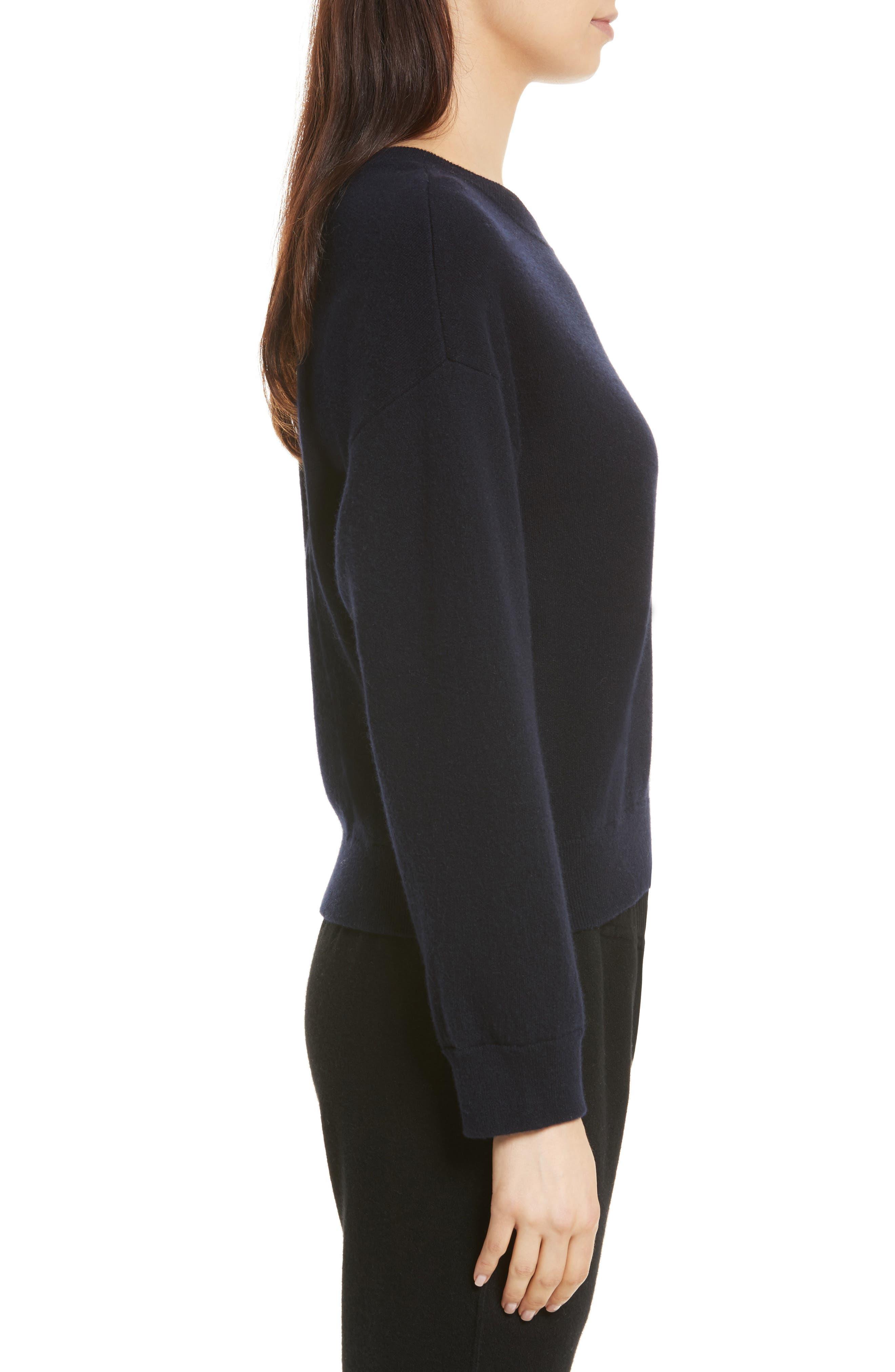 Double Layer Cashmere & Cotton Sweater,                             Alternate thumbnail 3, color,                             Coastal/ Black