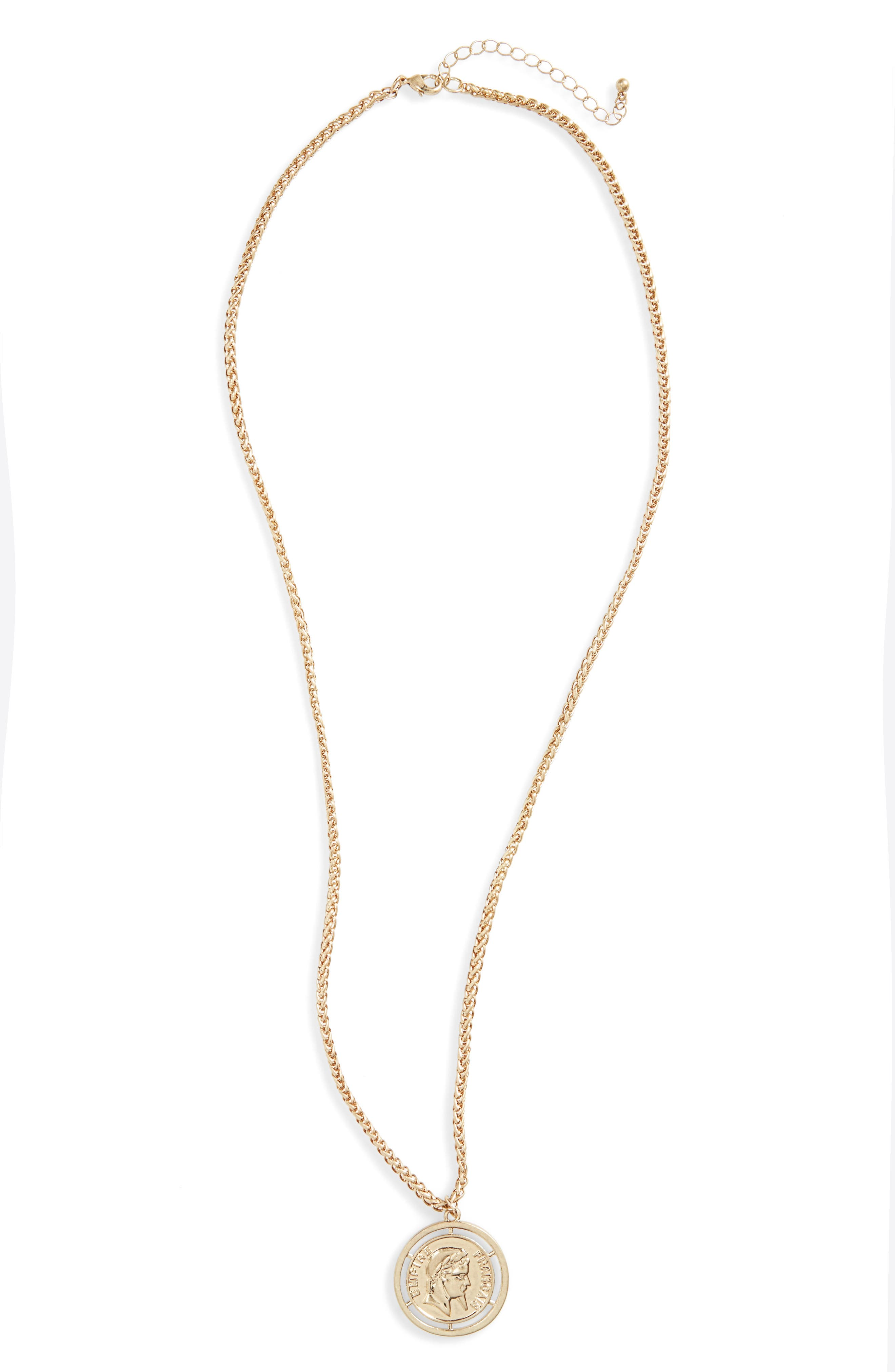 Coin Pendant Necklace,                         Main,                         color, Gold
