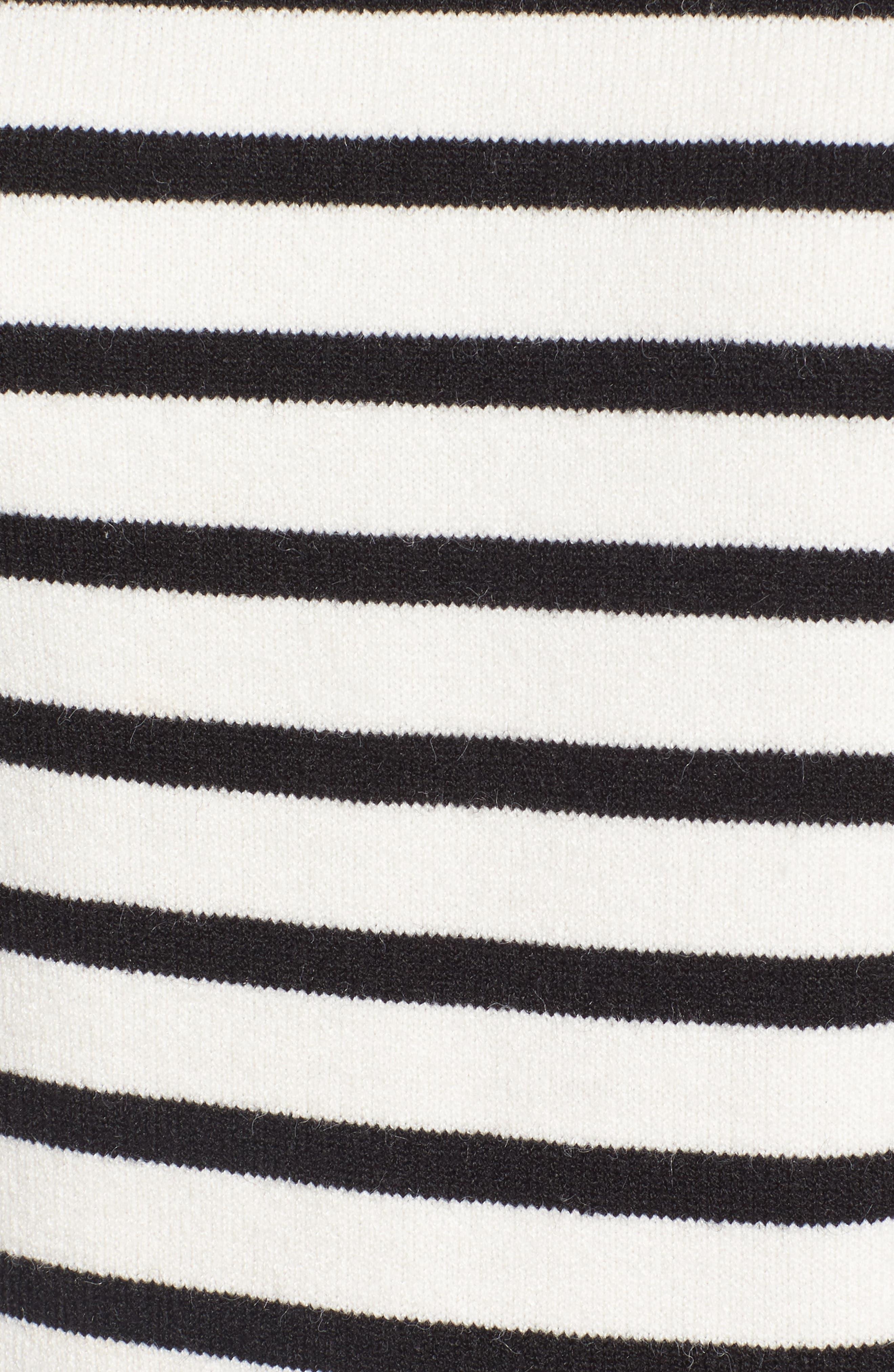 Bell Sleeve Sweater,                             Alternate thumbnail 5, color,                             Black- Ivory Stripe