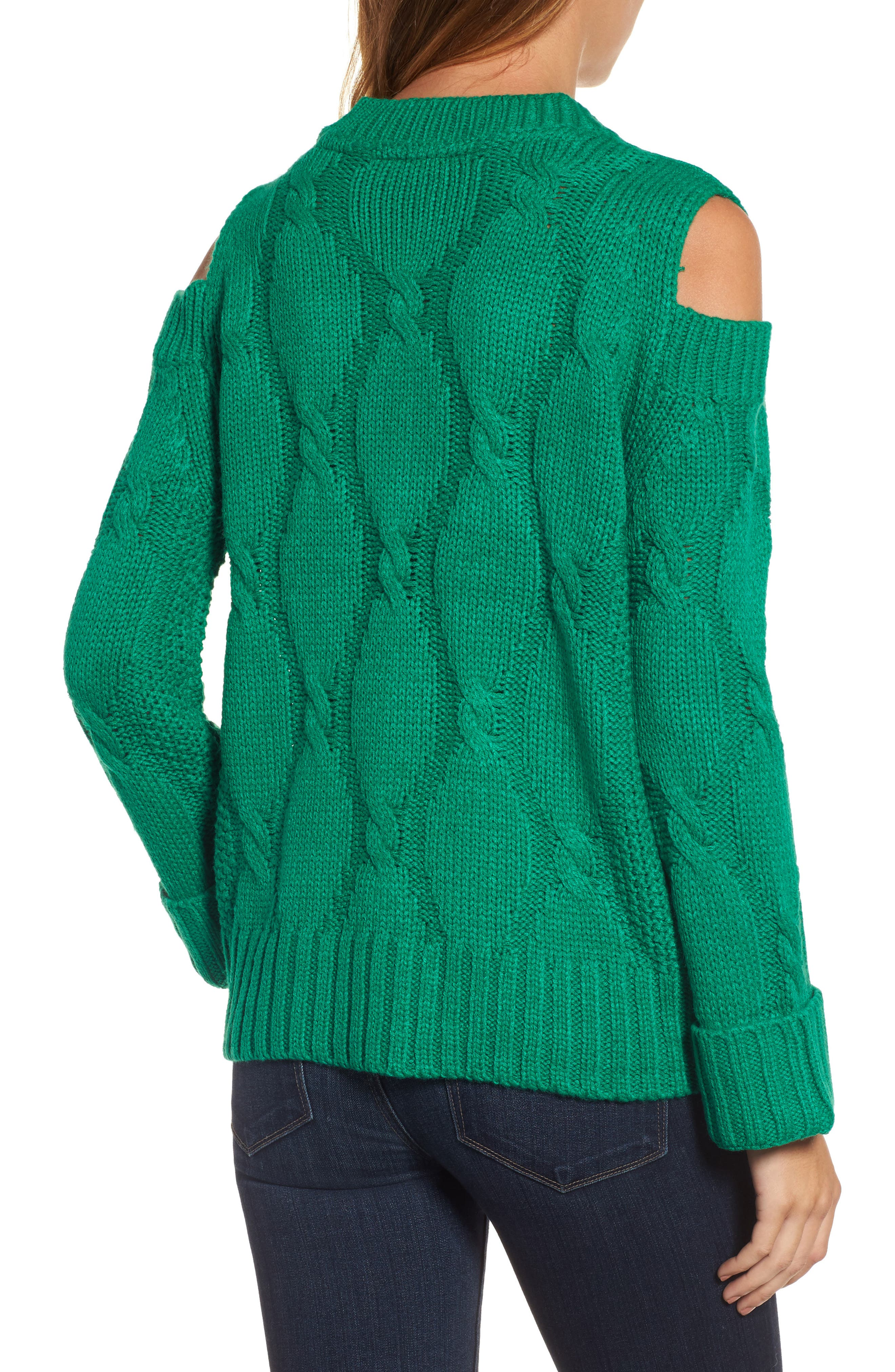 Alternate Image 2  - RDI Cold Shoulder Cable Sweater