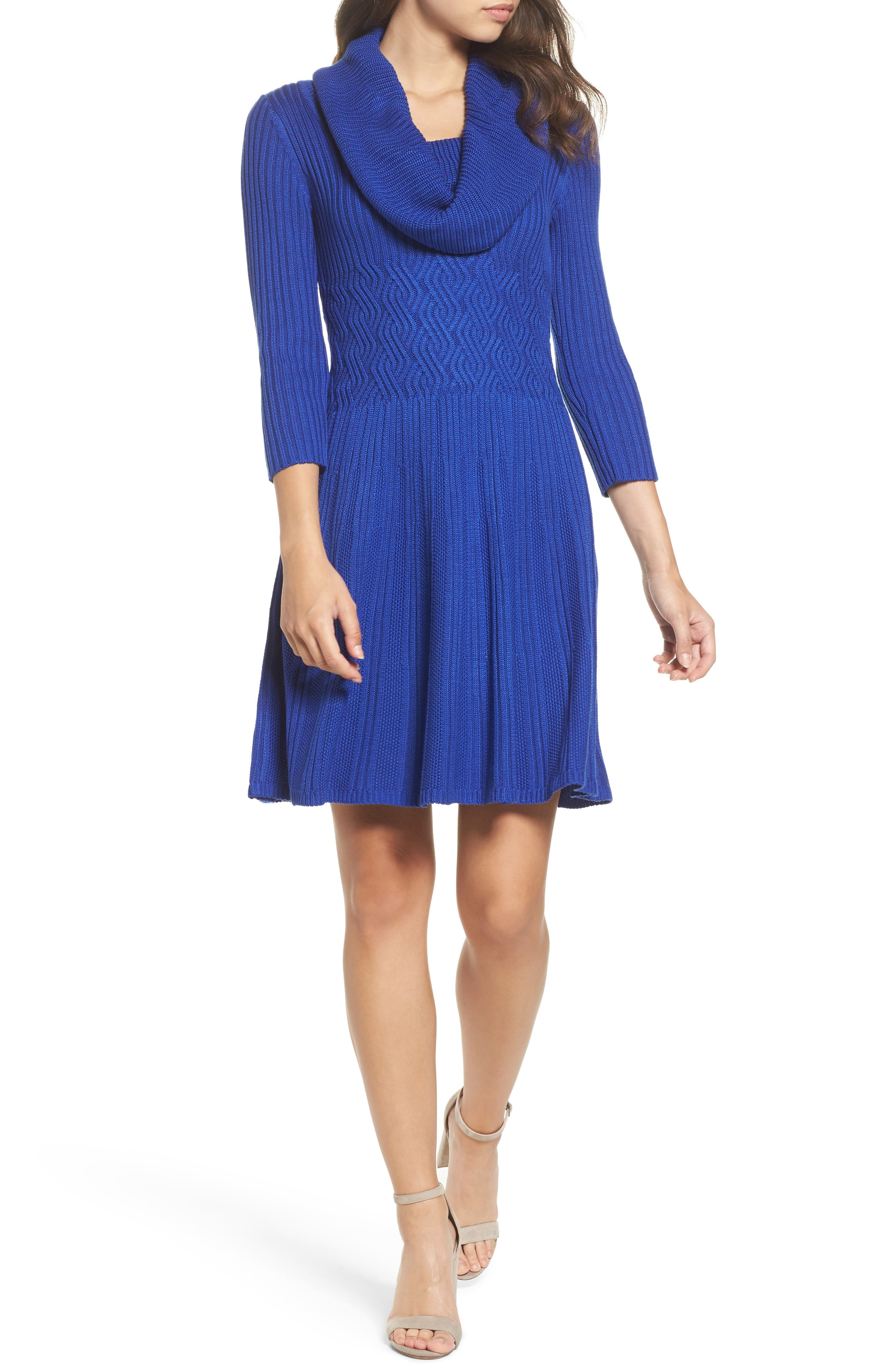 Main Image - Eliza J Cowl Neck Sweater Dress