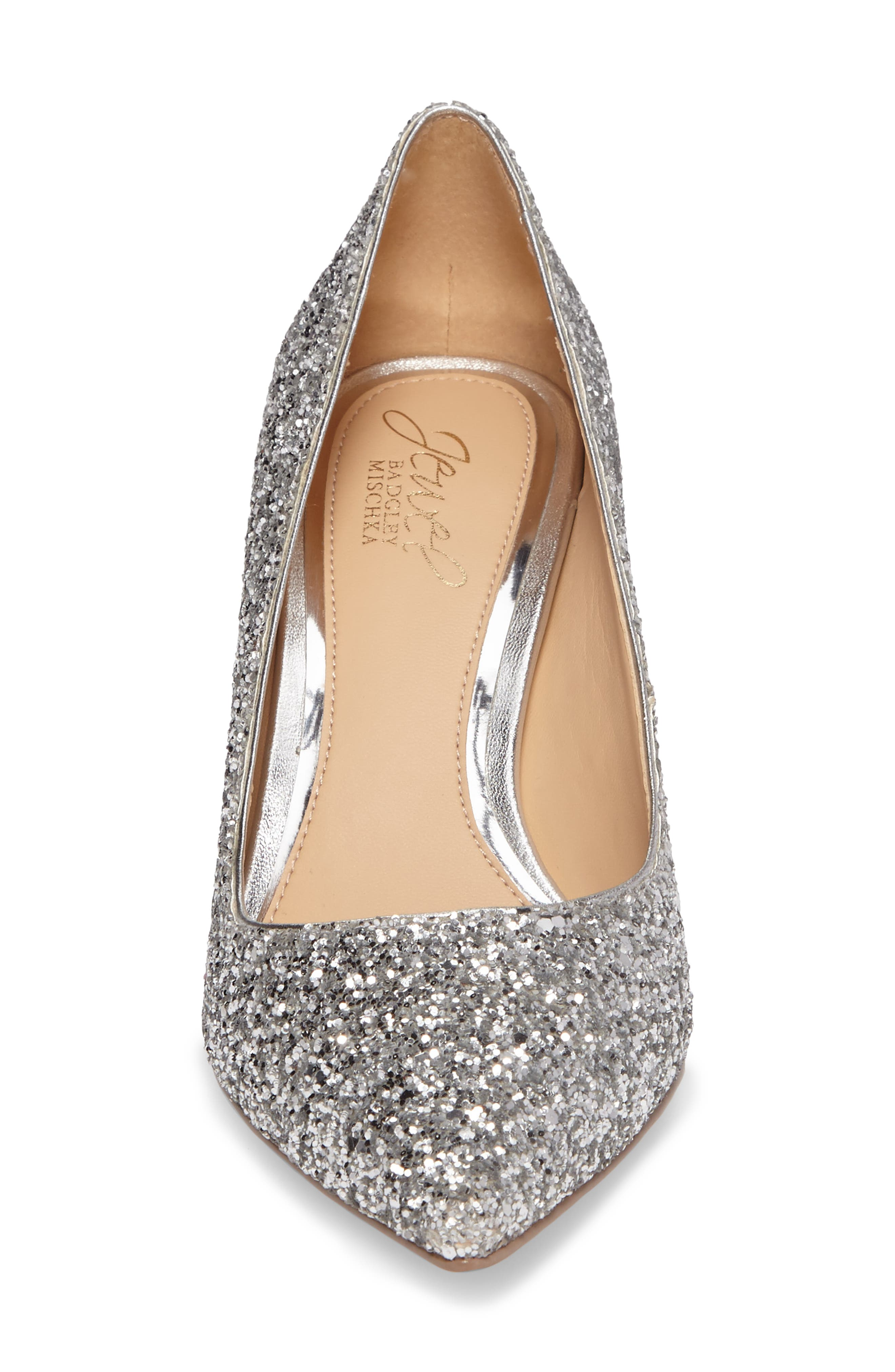 Lyla Glitter Pointy Toe Pump,                             Alternate thumbnail 4, color,                             Silver
