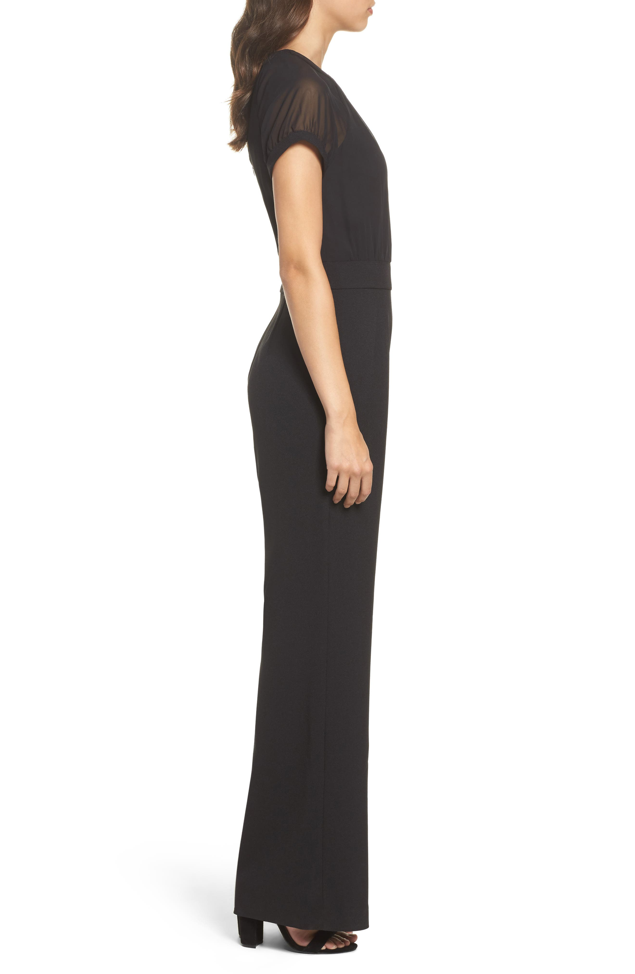 Chiffon & Crepe Jumpsuit,                             Alternate thumbnail 3, color,                             Black
