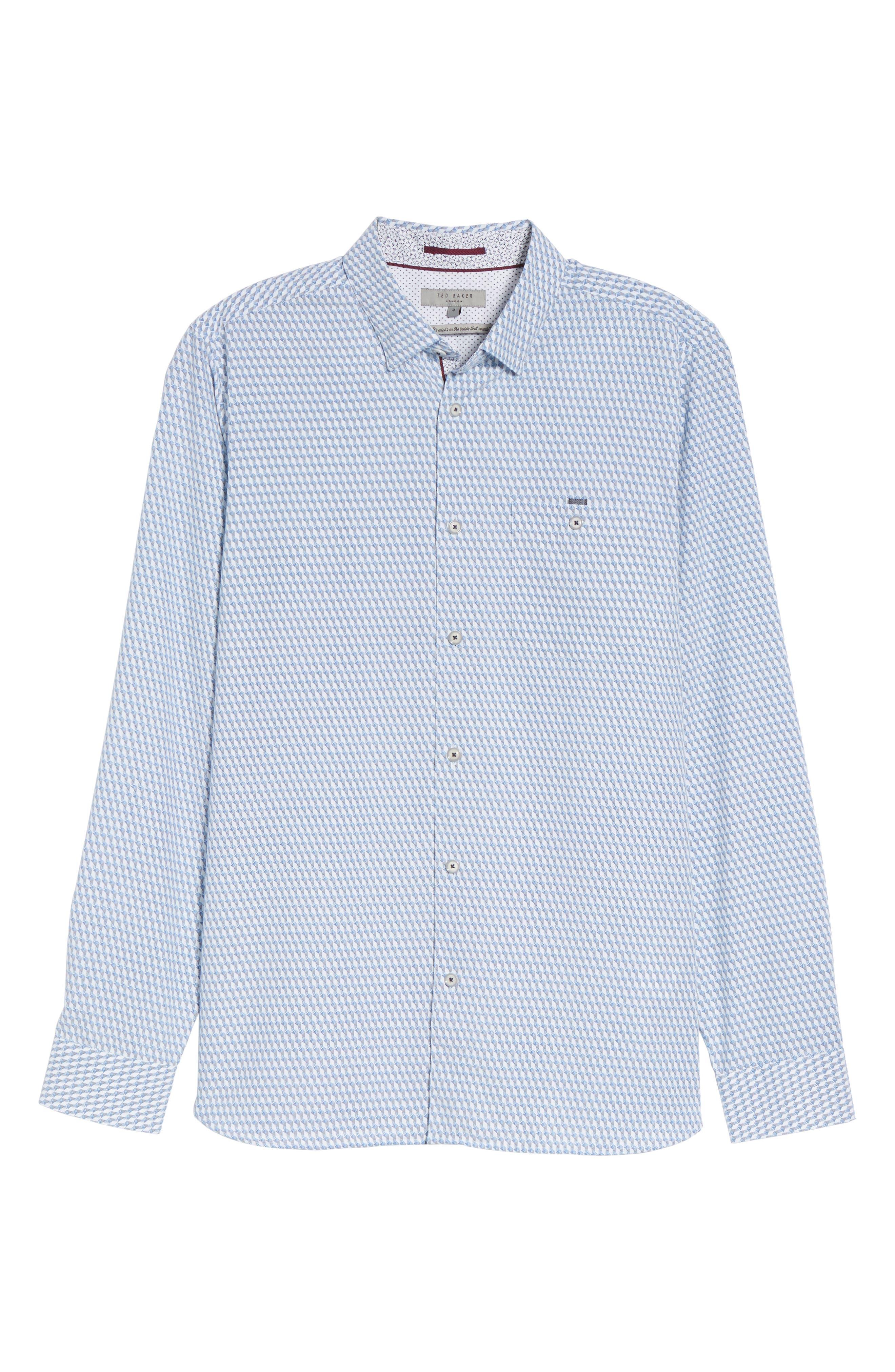 Wyne Slim Fit Polynosic Geo Print Sport Shirt,                             Alternate thumbnail 6, color,                             White
