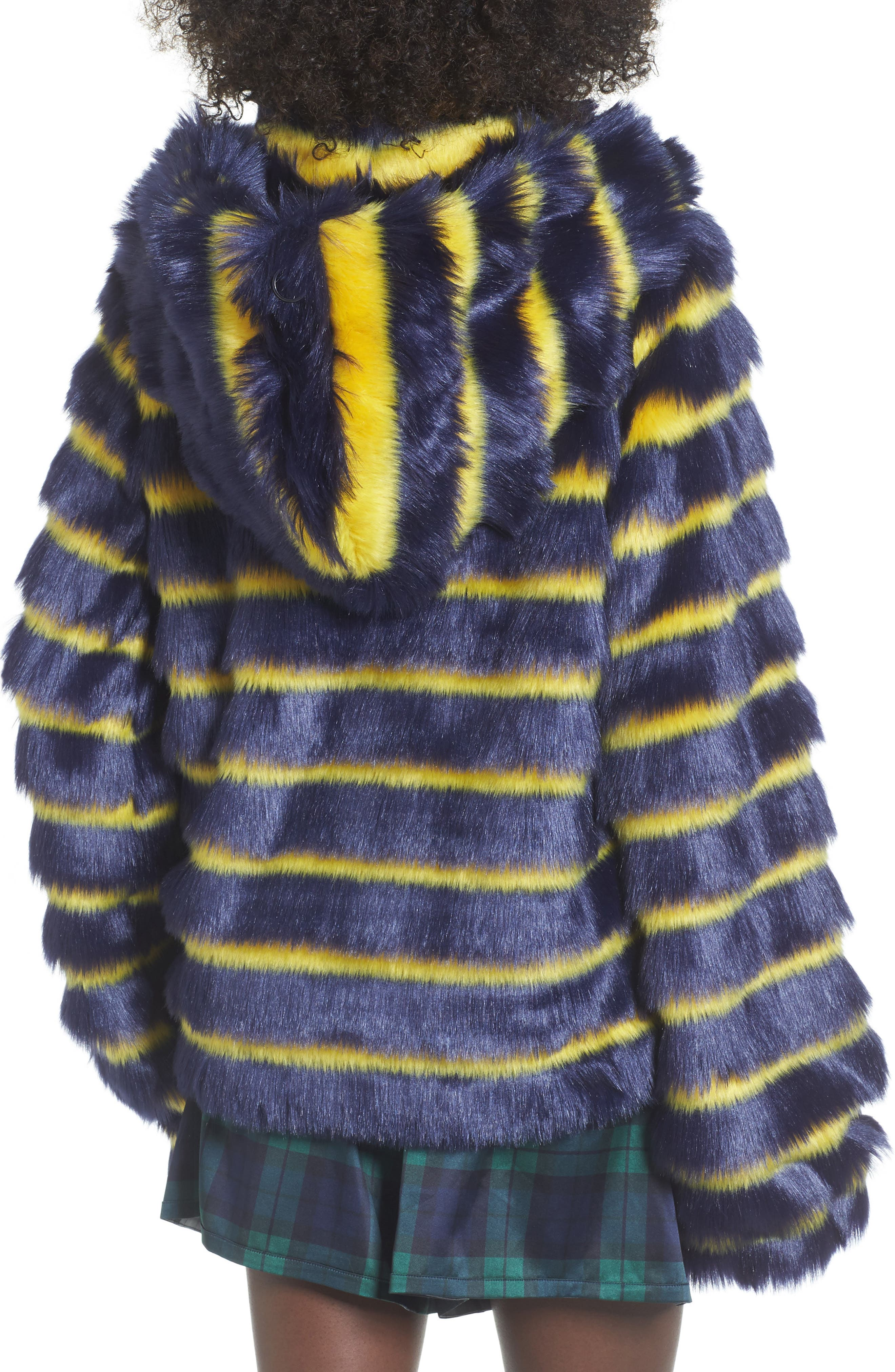 PUMA by Rihanna Faux Shearling Hooded Jacket,                             Alternate thumbnail 2, color,                             Navy/ Yellow Stripe