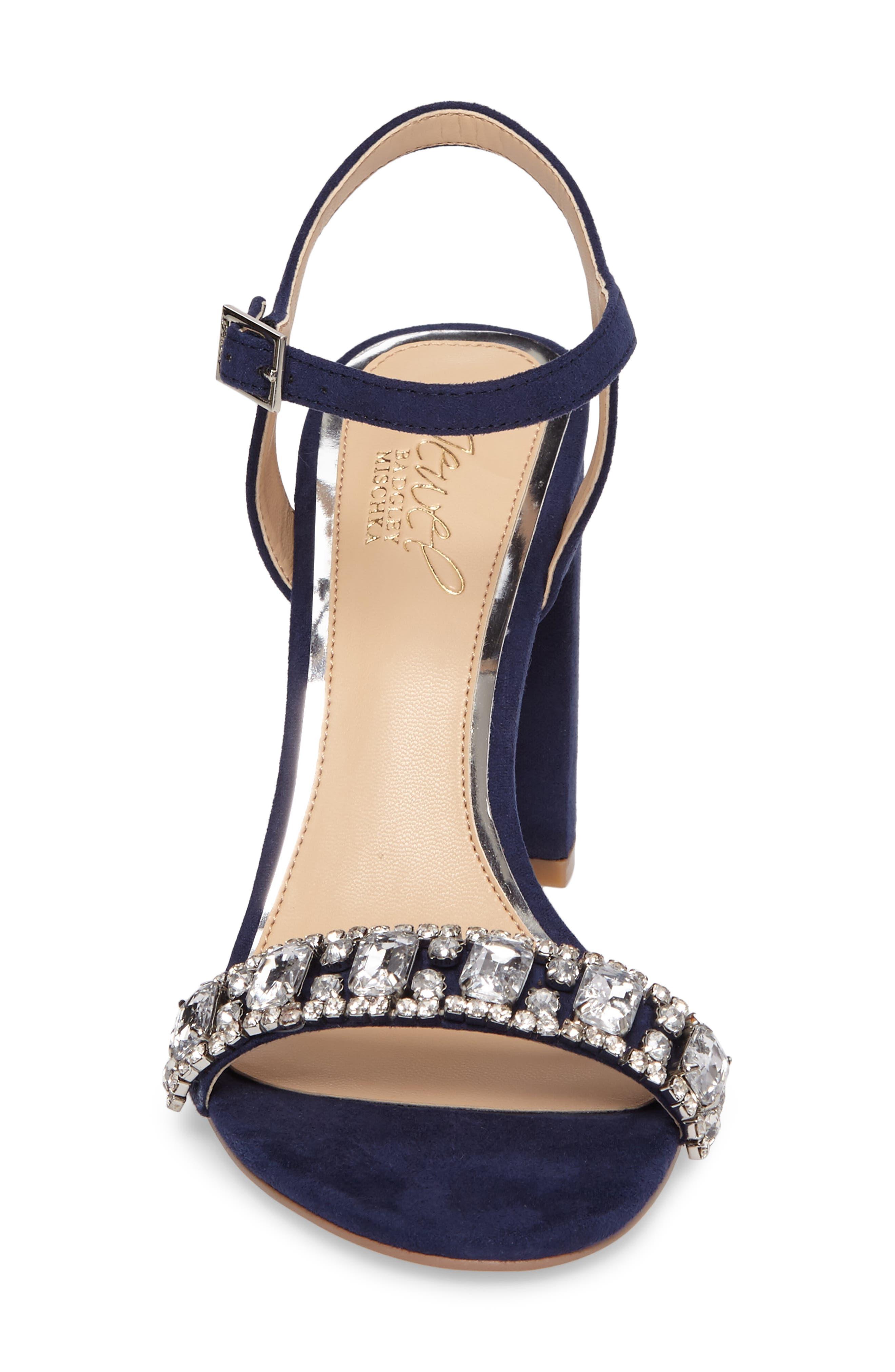 Hendricks Embellished Block Heel Sandal,                             Alternate thumbnail 4, color,                             Navy Suede