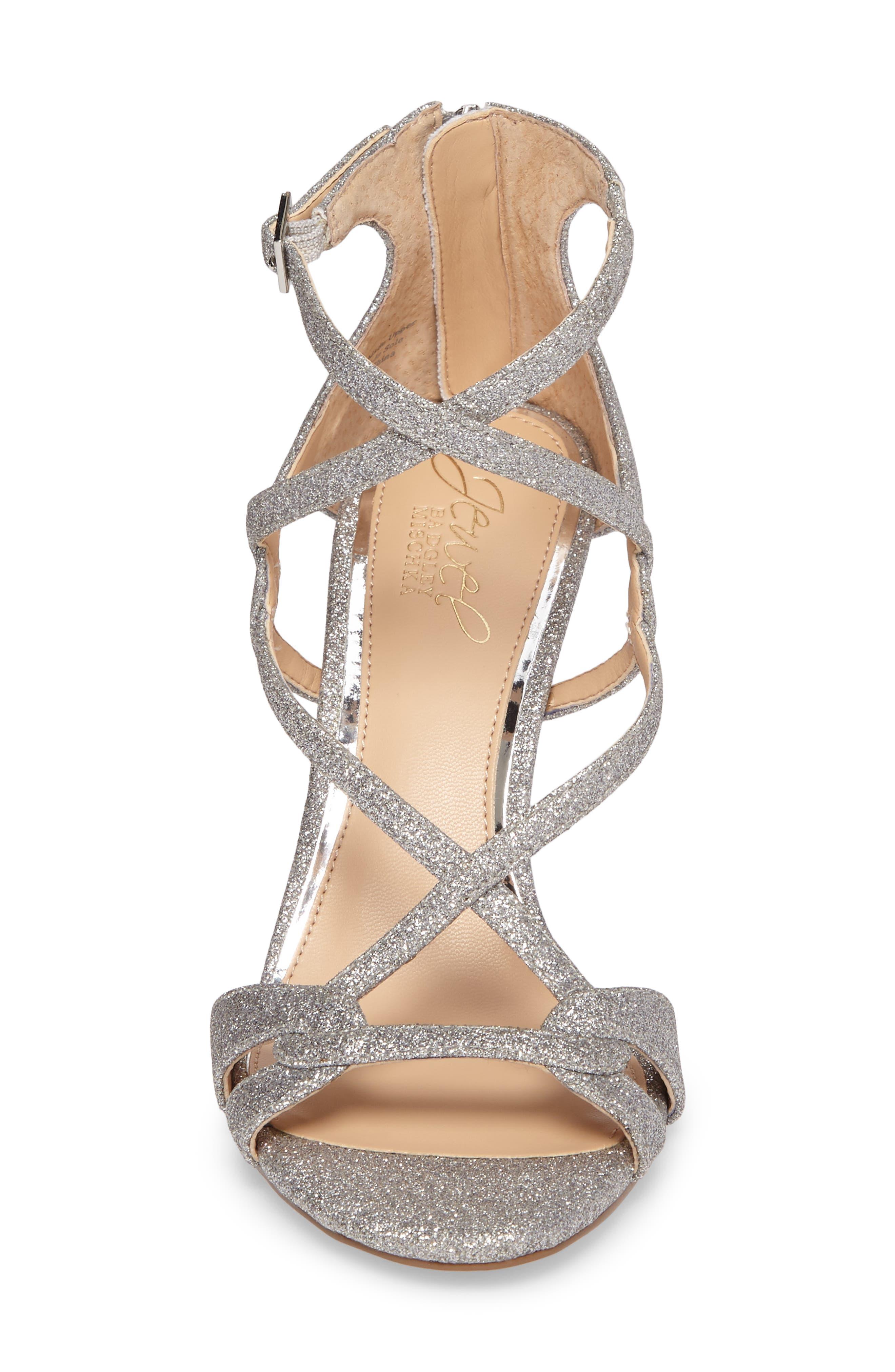 Alternate Image 4  - Jewel Badgley Mischka Aliza Strappy Glitter Sandal (Women)