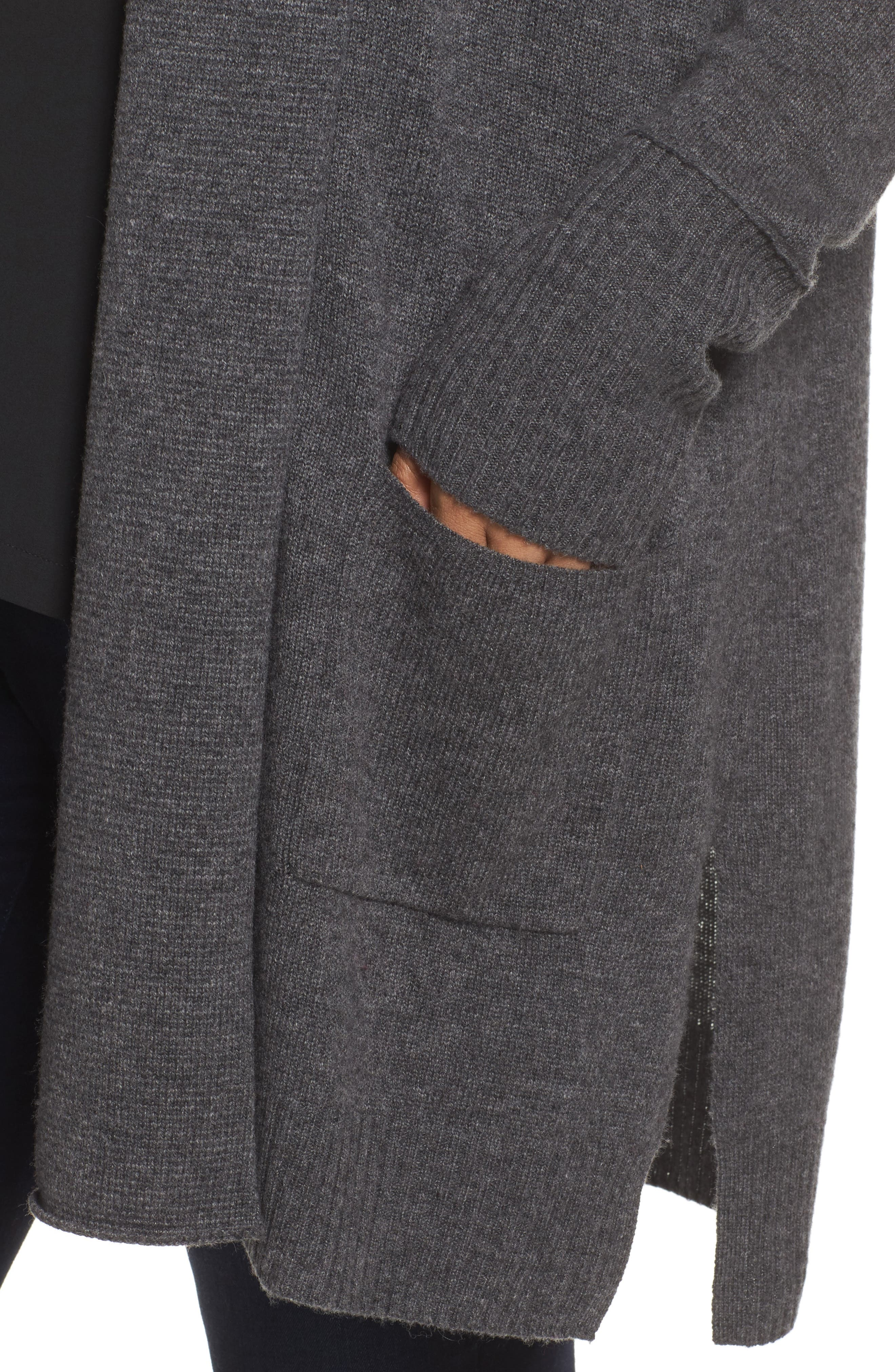 Pocket Cardigan,                             Alternate thumbnail 4, color,                             Grey Charcoal Heather