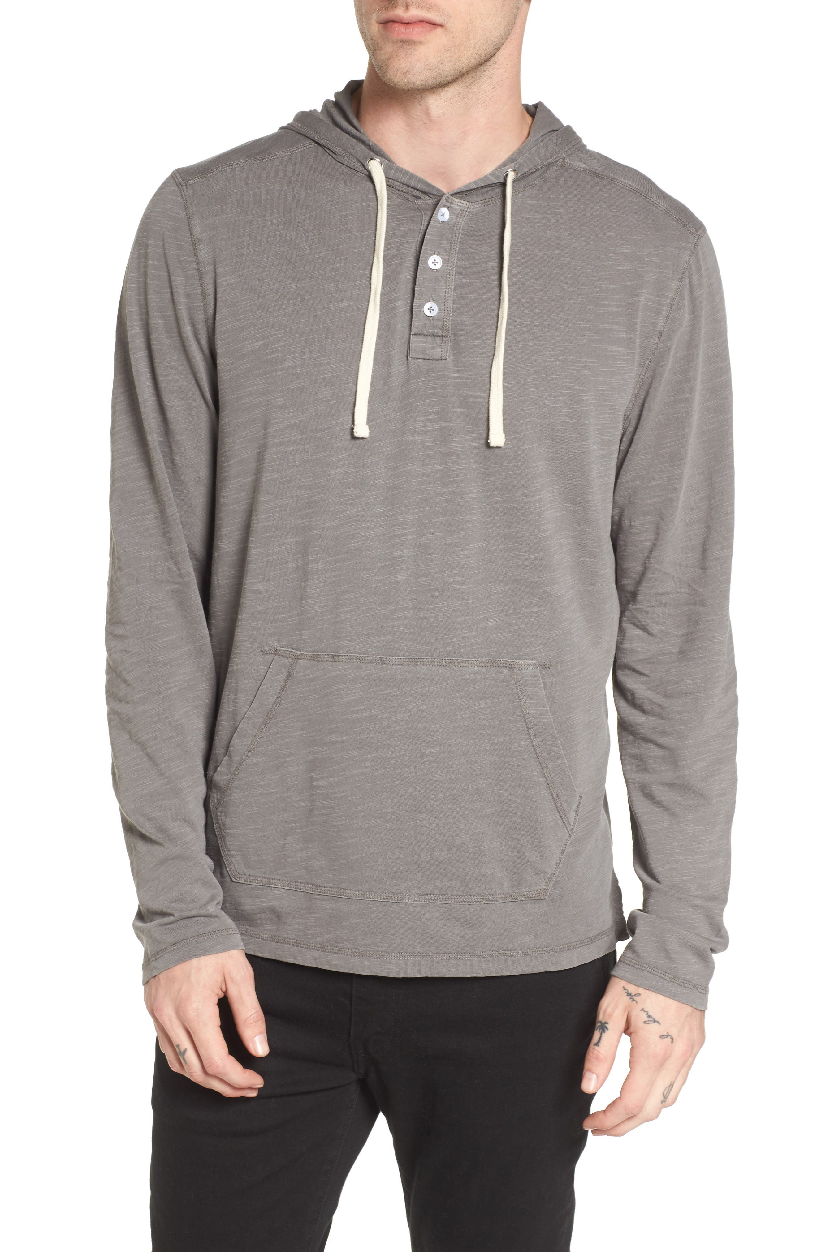 Henley Hoodie,                         Main,                         color, Grey Charcoal