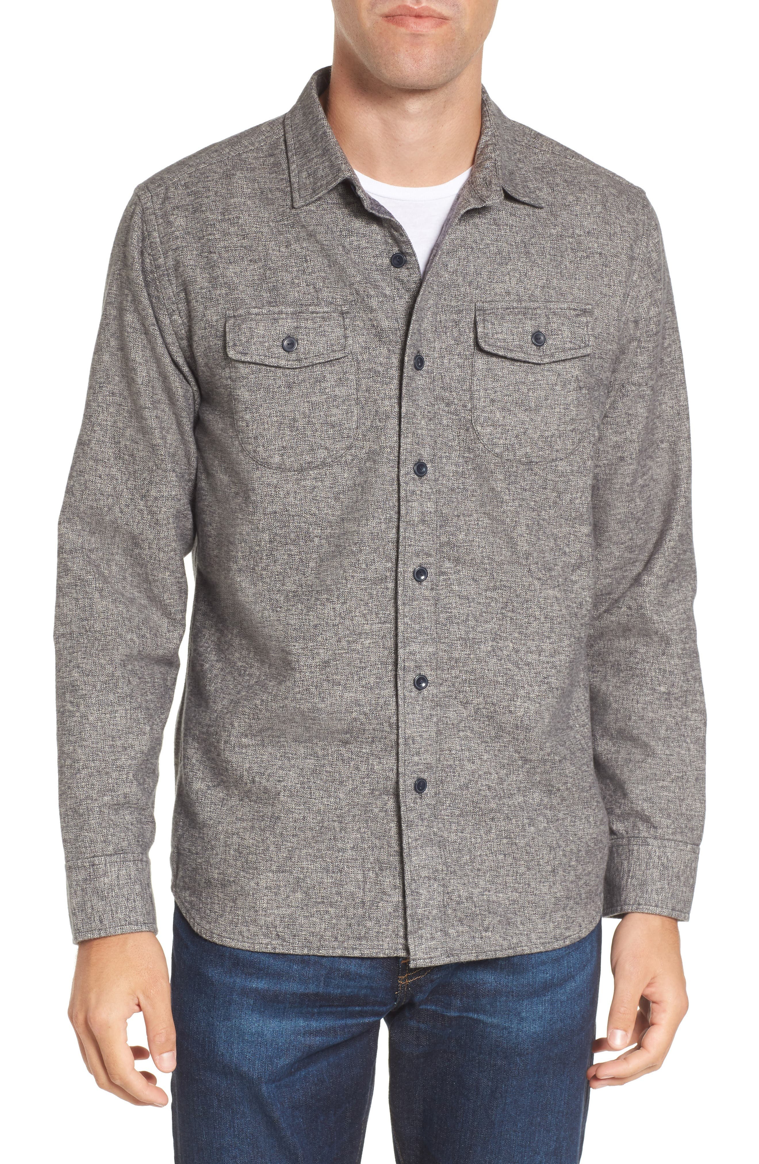 Harrison Heritage Flannel Shirt,                         Main,                         color, Grey Jaspe