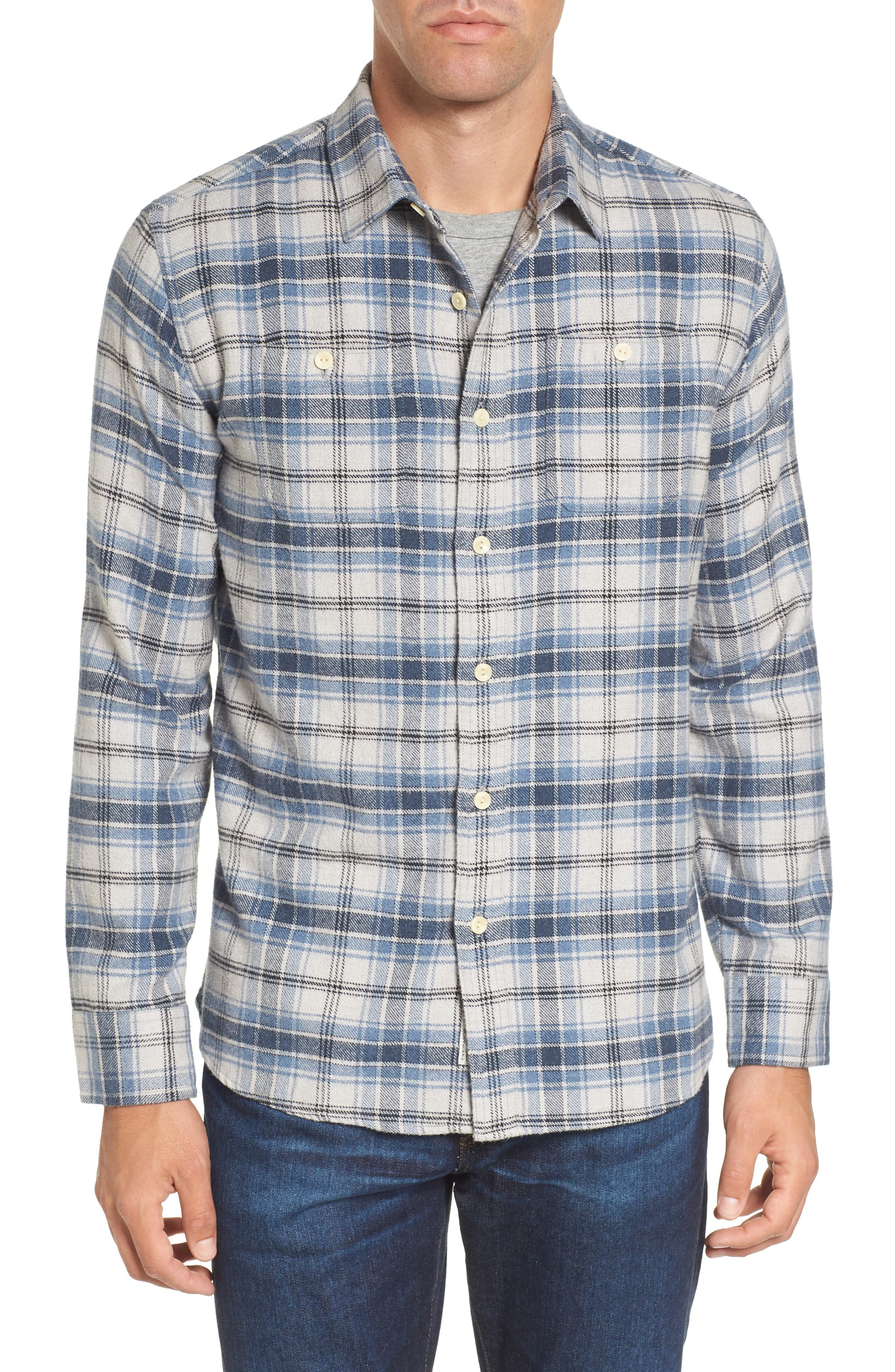 Campton Heritage Plaid Flannel Shirt,                         Main,                         color, Blue Stone