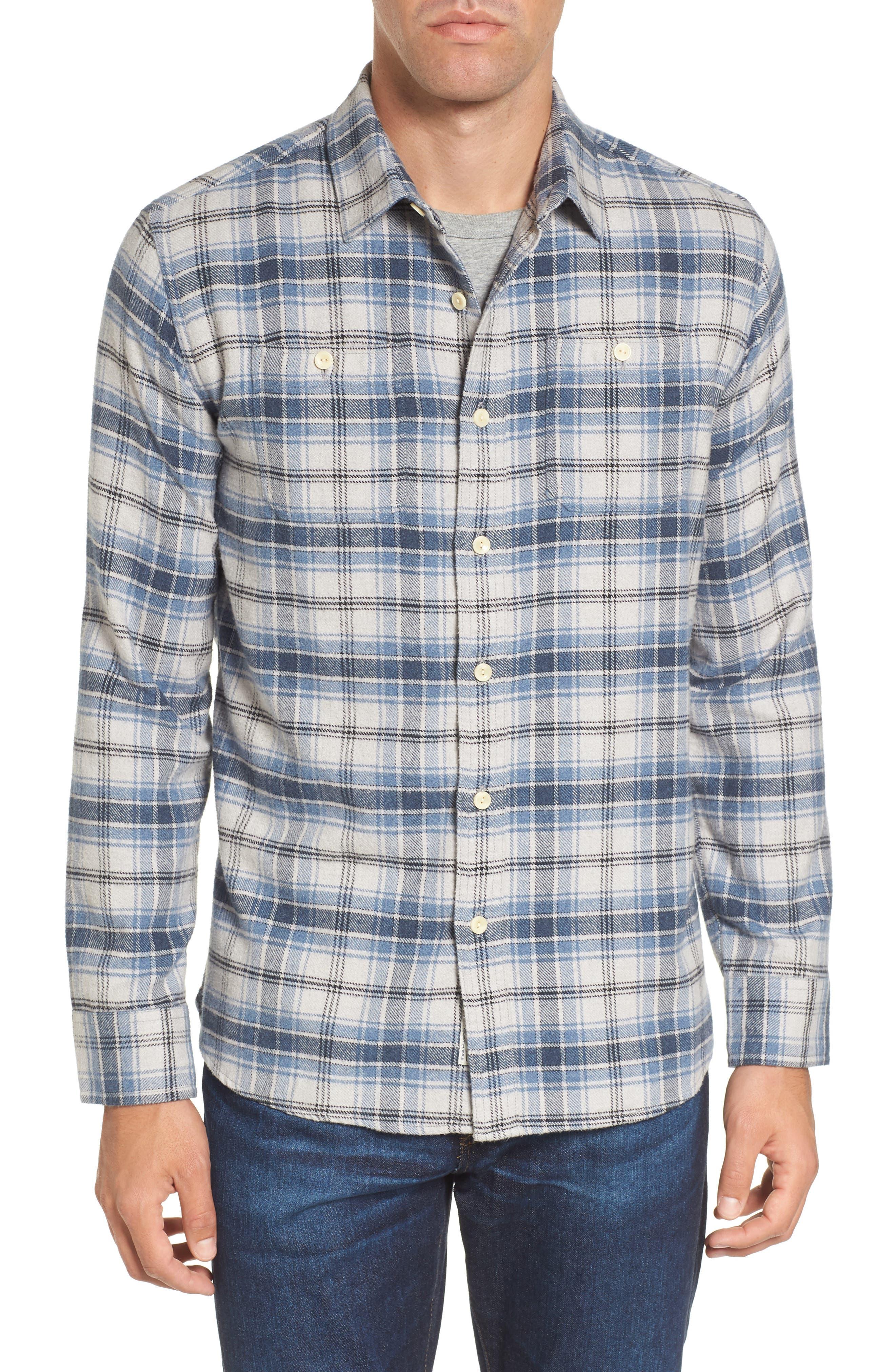 Campton Heritage Plaid Flannel Shirt,                         Main,                         color, Blue Stone
