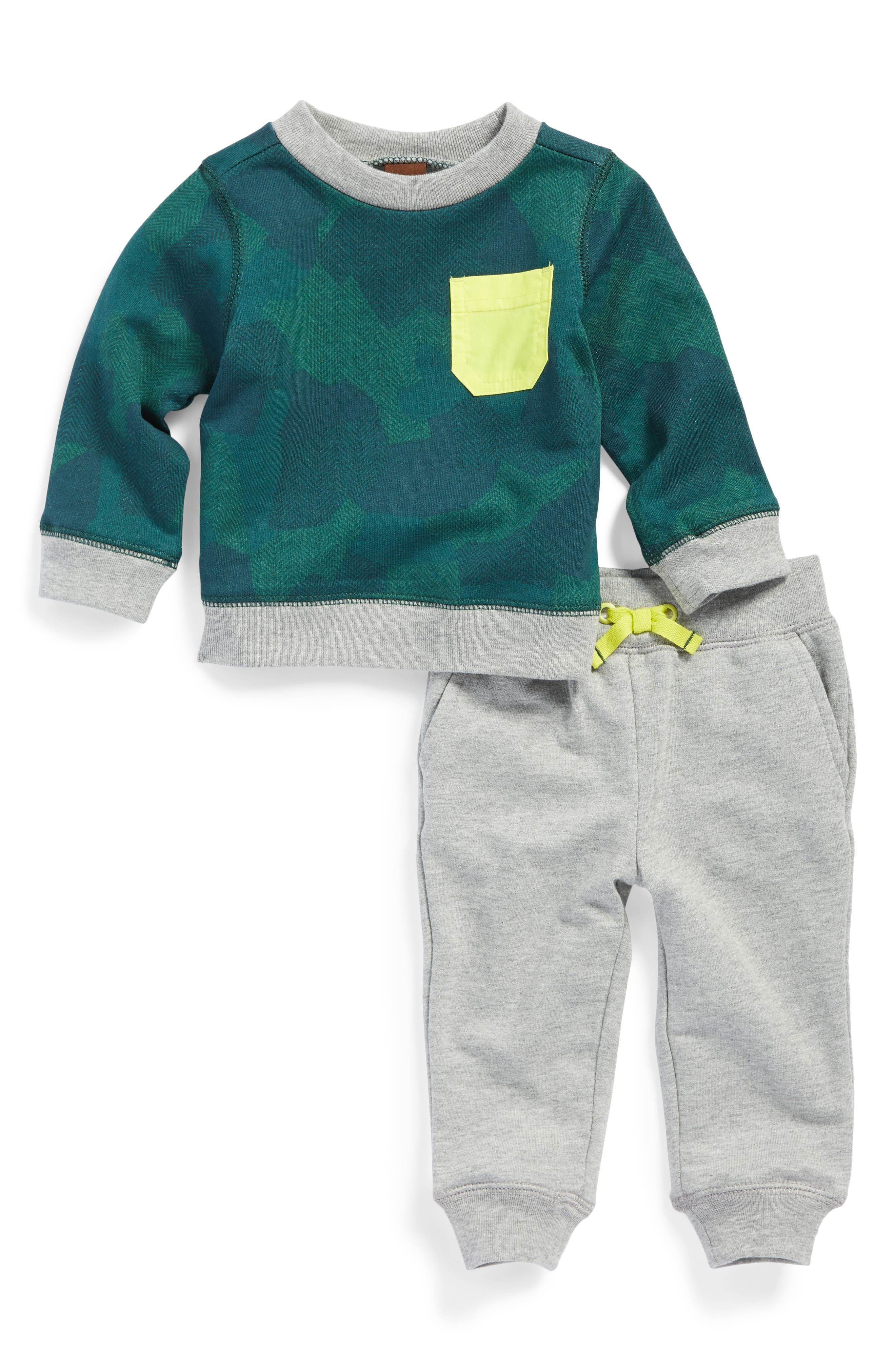 Tea Collection Inverness Camo Print Sweatshirt & Jogger Pants Set (Baby Boys)