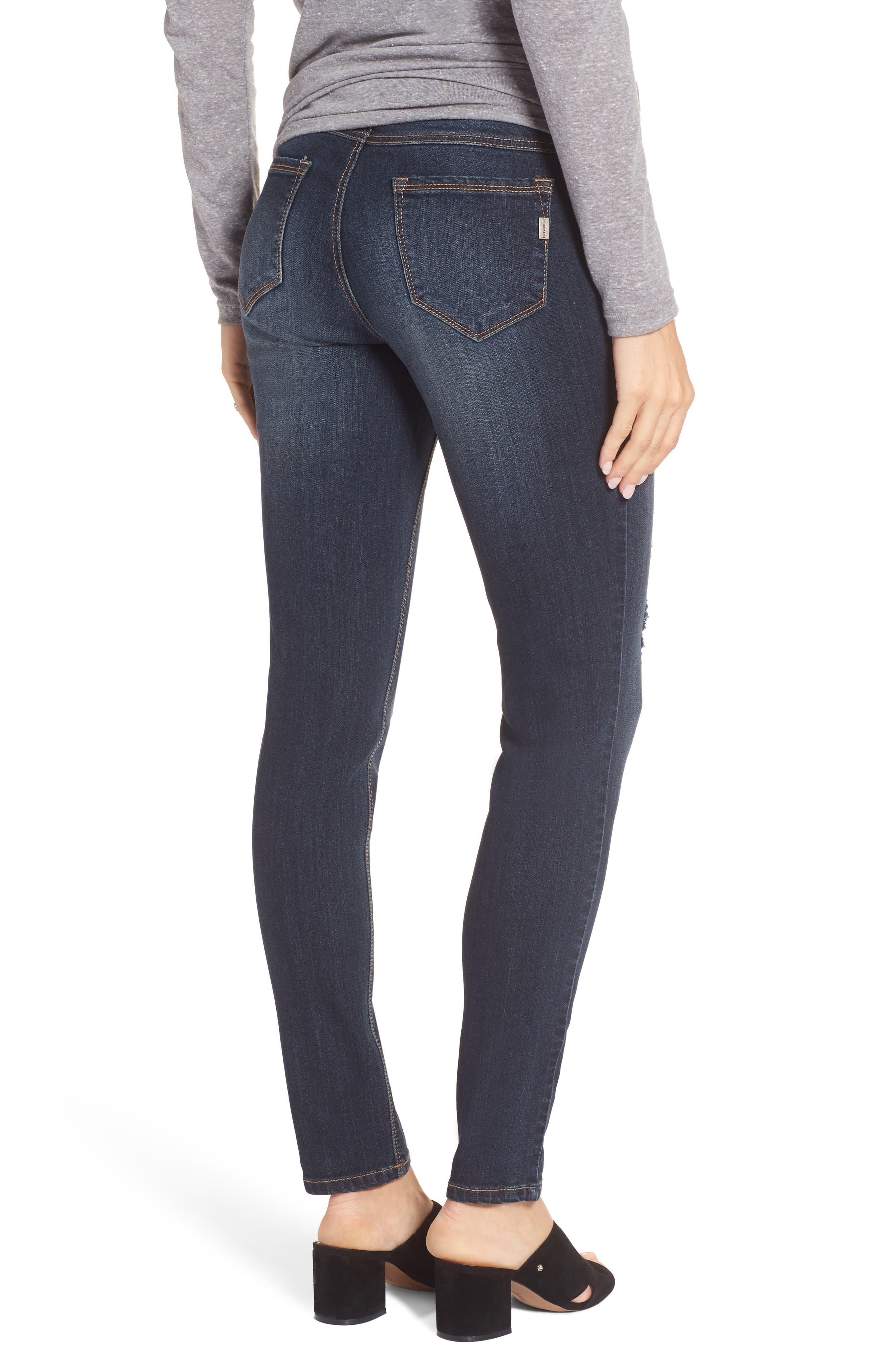 Alternate Image 2  - 1822 Denim Destructed Maternity Skinny Jeans (Hazel)